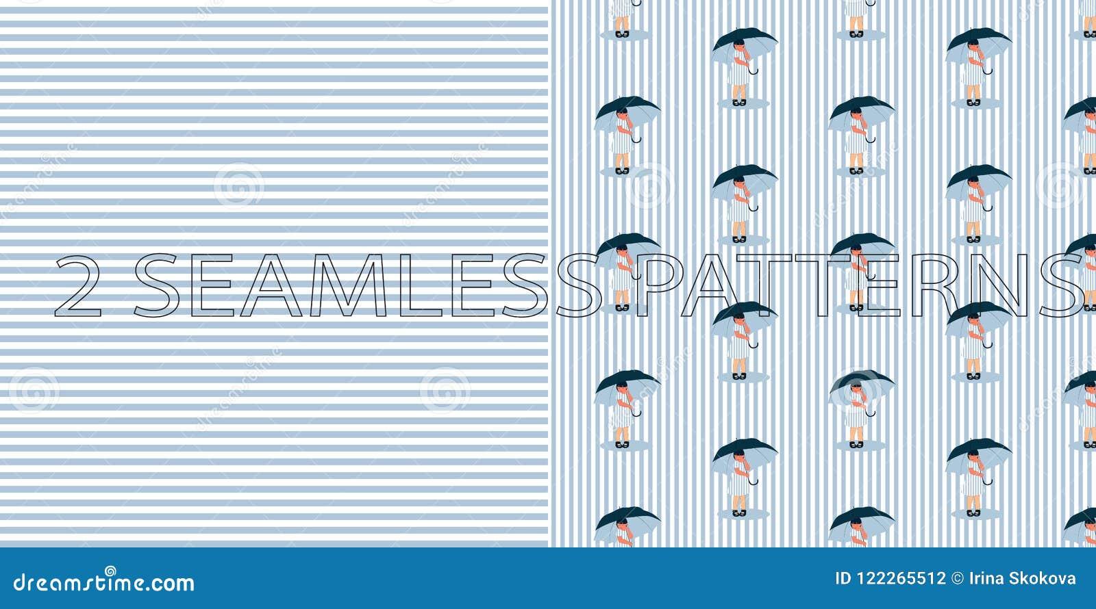 Σύνολο δύο άνευ ραφής σχεδίων στο μπλε χρώμα