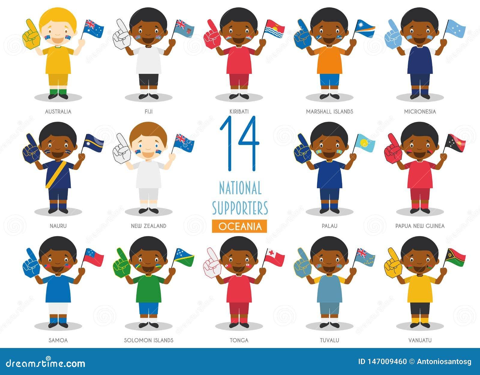 Σύνολο 14 εθνικών ανεμιστήρων αθλητικών ομάδων από την ωκεάνεια διανυσματική απεικόνιση χωρών