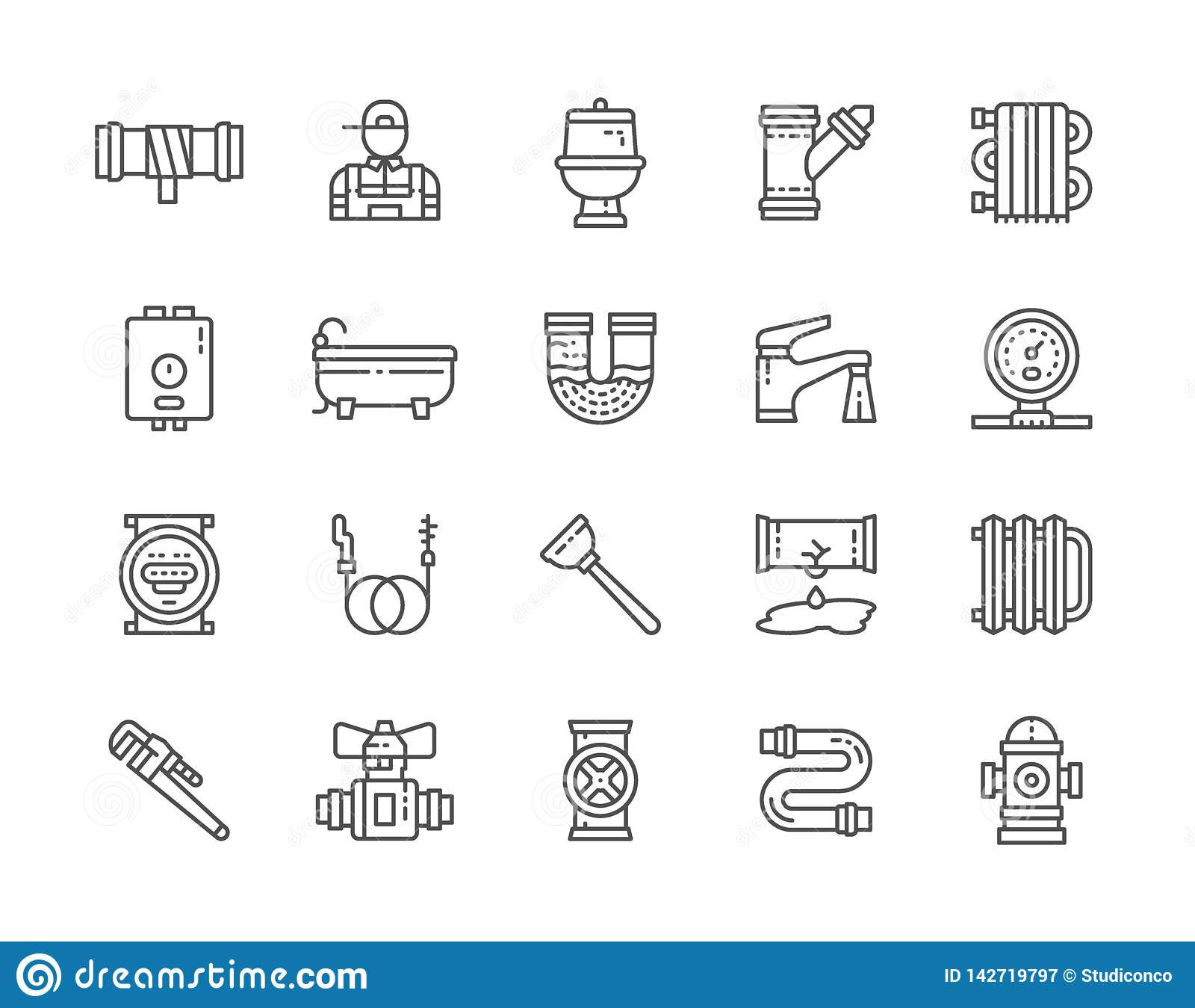 Σύνολο εικονιδίων γραμμών υπηρεσιών υδραυλικών Μπανιέρα, τουαλέτα, λέβητας, υδραυλικός και περισσότεροι