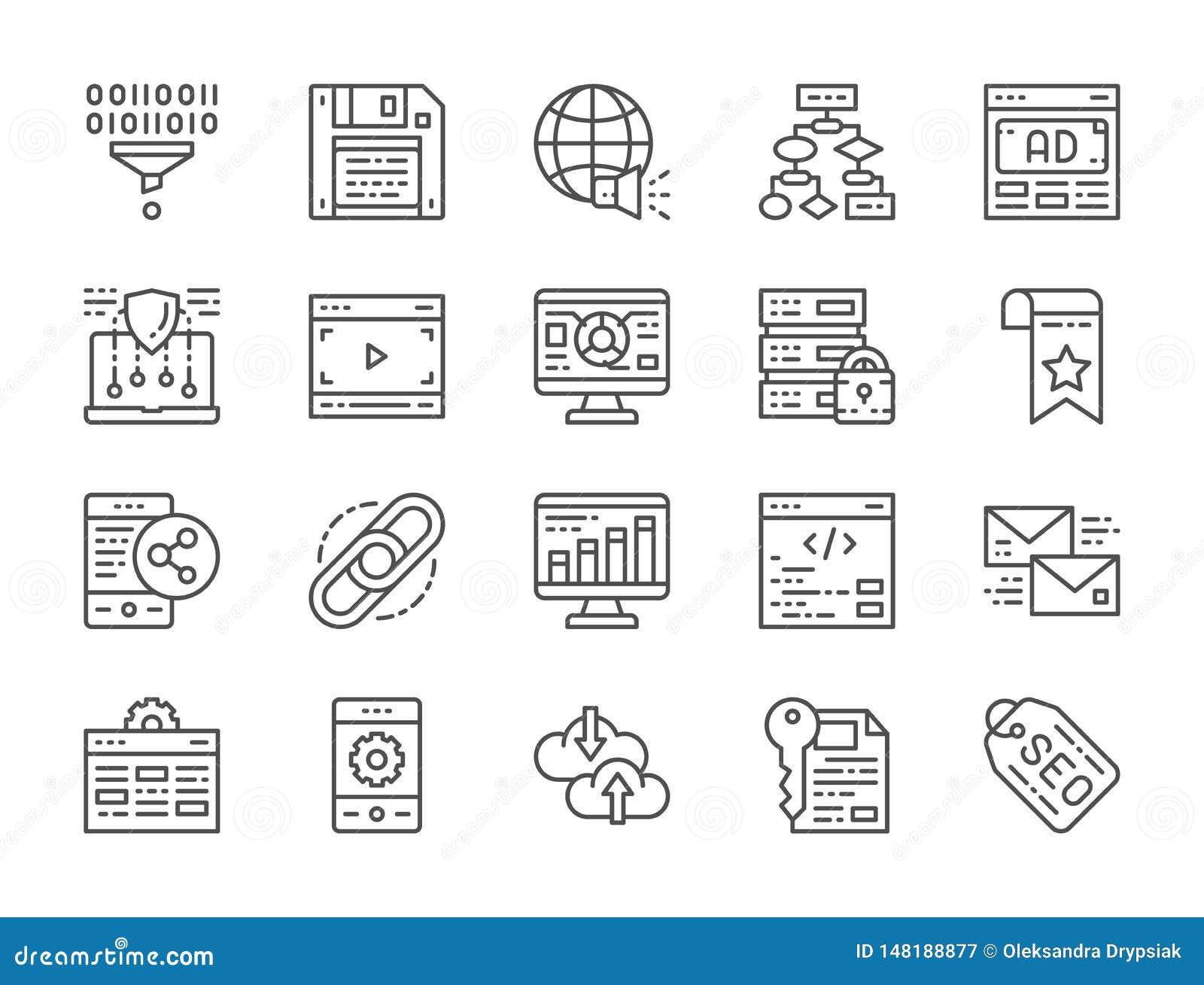 Σύνολο εικονιδίων γραμμών SEO και μάρκετινγκ Φιλοξενία, σελιδοδείκτης, σύνδεσμος υπερ-κειμένου και περισσότεροι