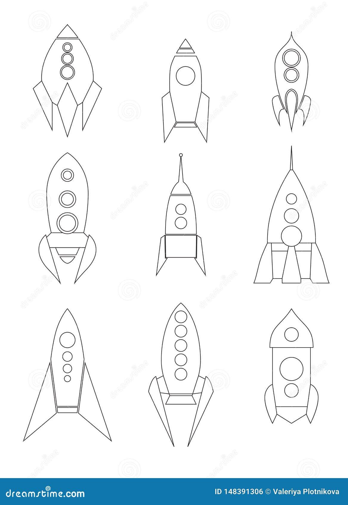 Σύνολο εικονιδίων διαστημικών σκαφών περιλήψεων Γραμμικό σχέδιο των σαϊτών Διαφορετικοί τύποι πυραύλων Διανυσματικά starships