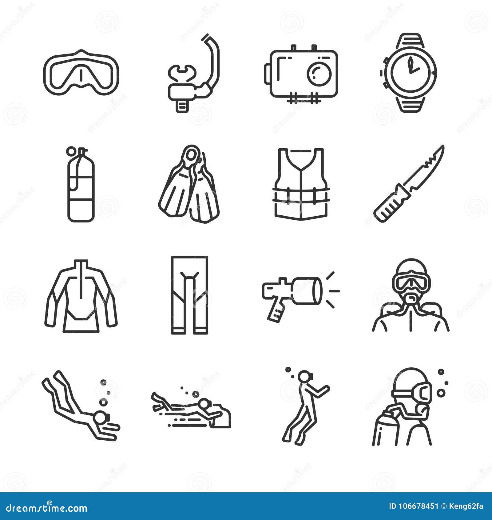 Σύνολο εικονιδίων κατάδυσης σκαφάνδρων Περιέλαβε τα εικονίδια όπως υποβρύχιο, δύτη σκαφάνδρων, μάσκα, πτερύγια, ρυθμιστής, wetsui