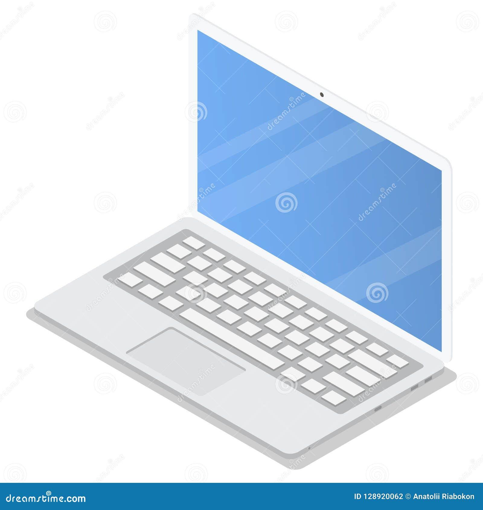 Σύνολο εικονιδίων lap-top γραφείων, isometric ύφος