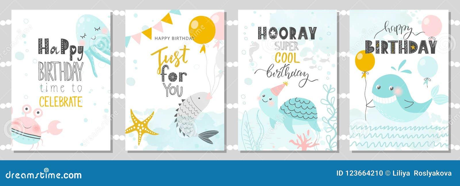 Σύνολο ευχετήριων καρτών γενεθλίων και προτύπων πρόσκλησης κομμάτων με το χαριτωμένες καβούρι, το χταπόδι, τα ψάρια, τη χελώνα κα