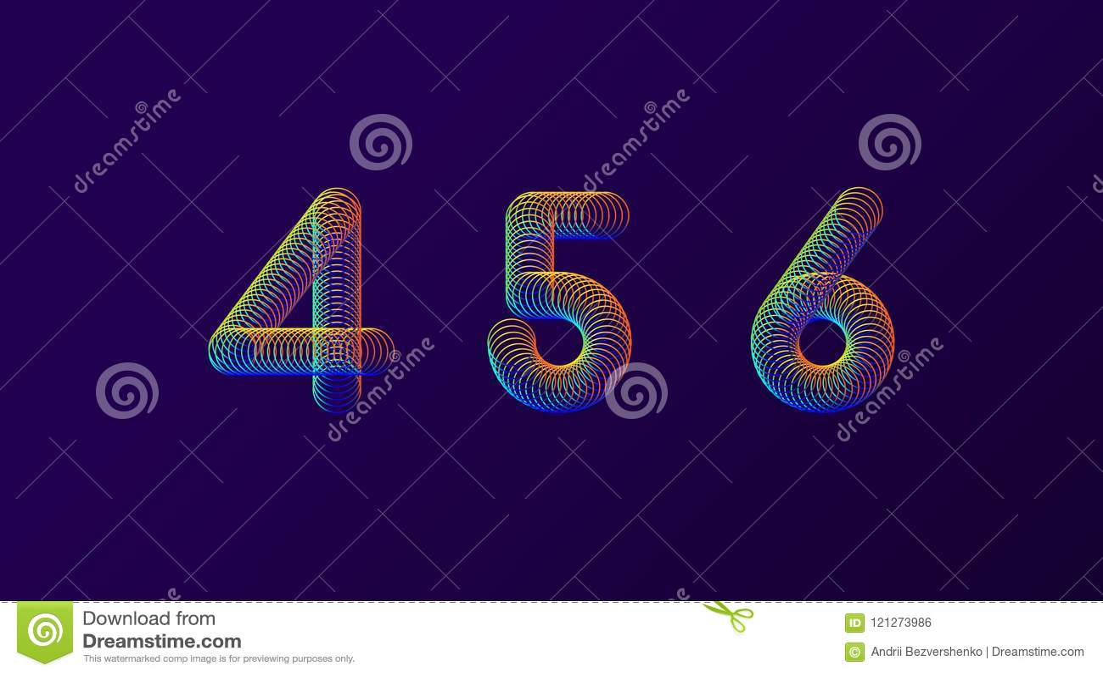 Σύνολο ζωηρόχρωμης σύγχρονης αφηρημένης διανυσματικής απεικόνισης σχεδίου αριθμών δημιουργικής 4 5 6 ψηφία άνοιξη νέου ουράνιων τ