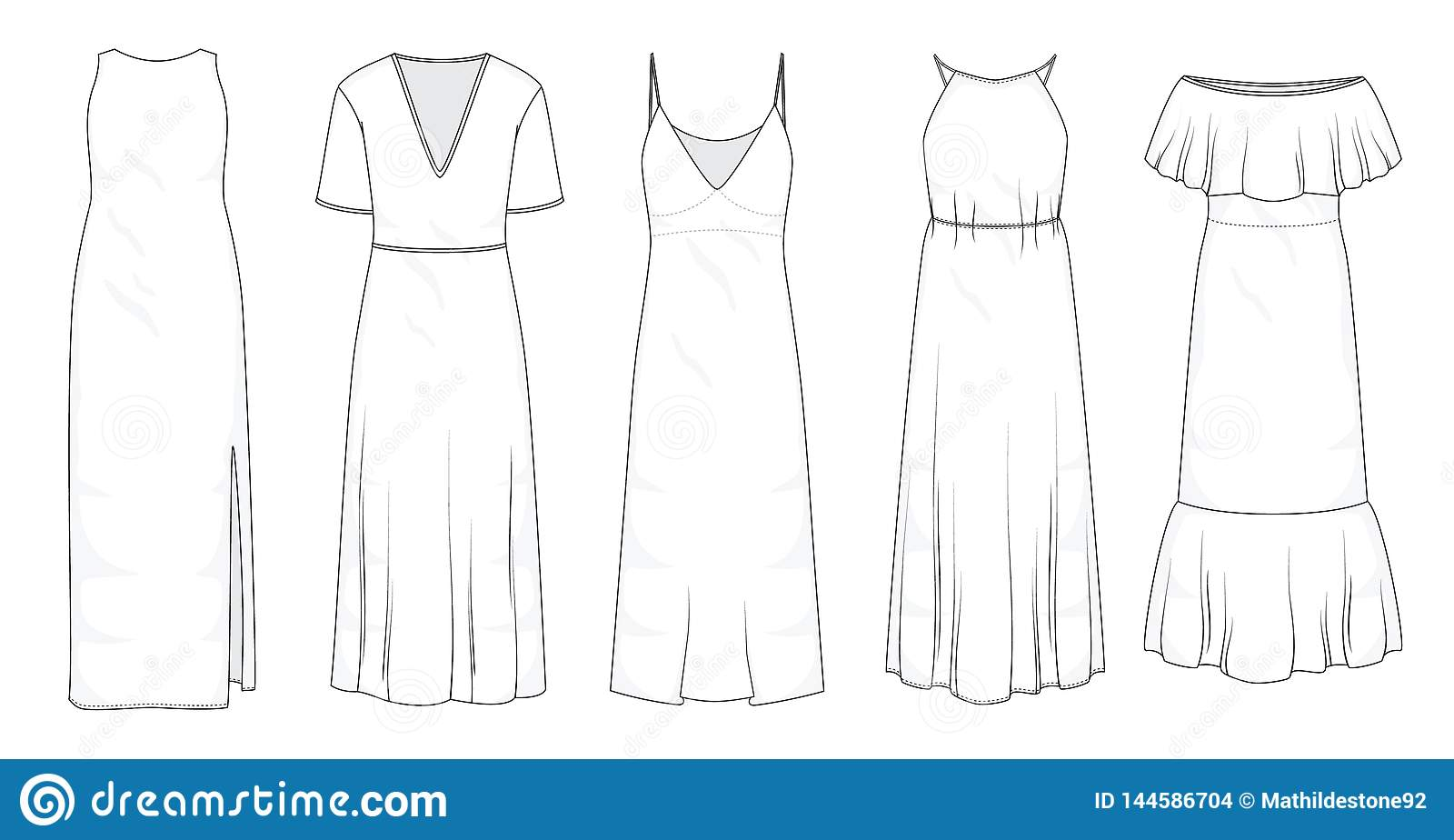 Σύνολο θερινών μακριών μεγάλου μεγέθους φορεμάτων
