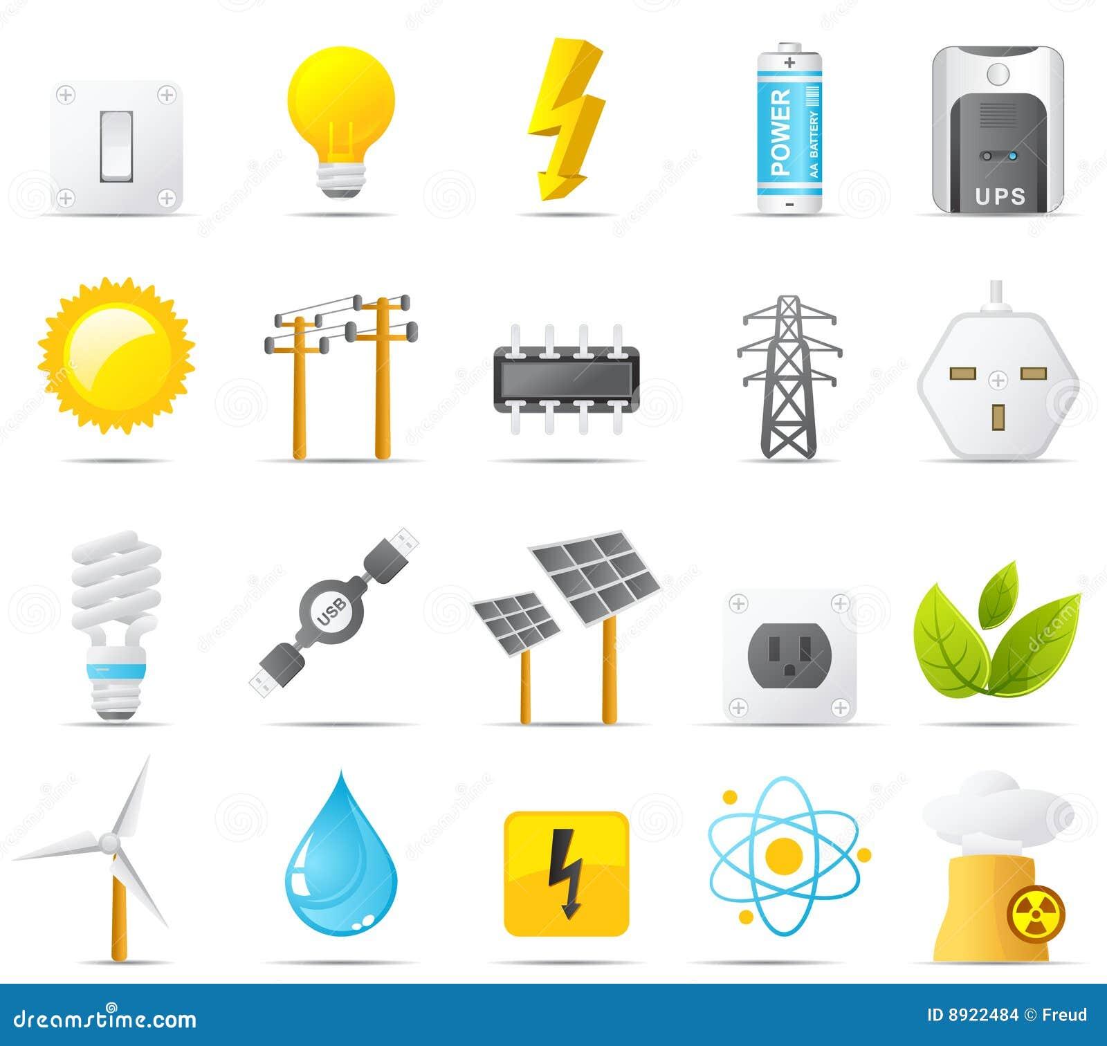 σύνολο ισχύος ενεργειακών εικονιδίων ηλεκτρικής ενέργειας nouve
