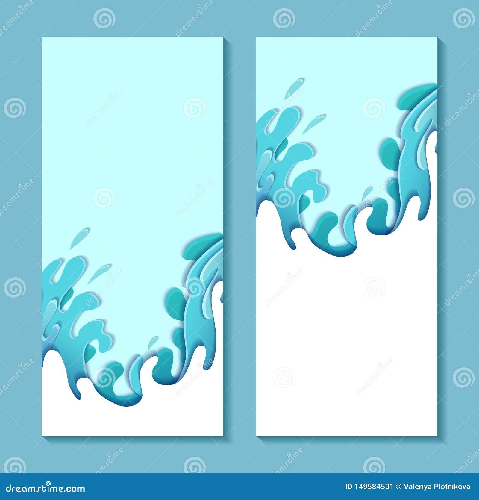 Σύνολο κάθετου εμβλήματος τα βίαια κύματα θάλασσας που αποκόπτουν με του εγγράφου Κάρτα με το τρισδιάστατο πολυστρωματικό σχέδιο