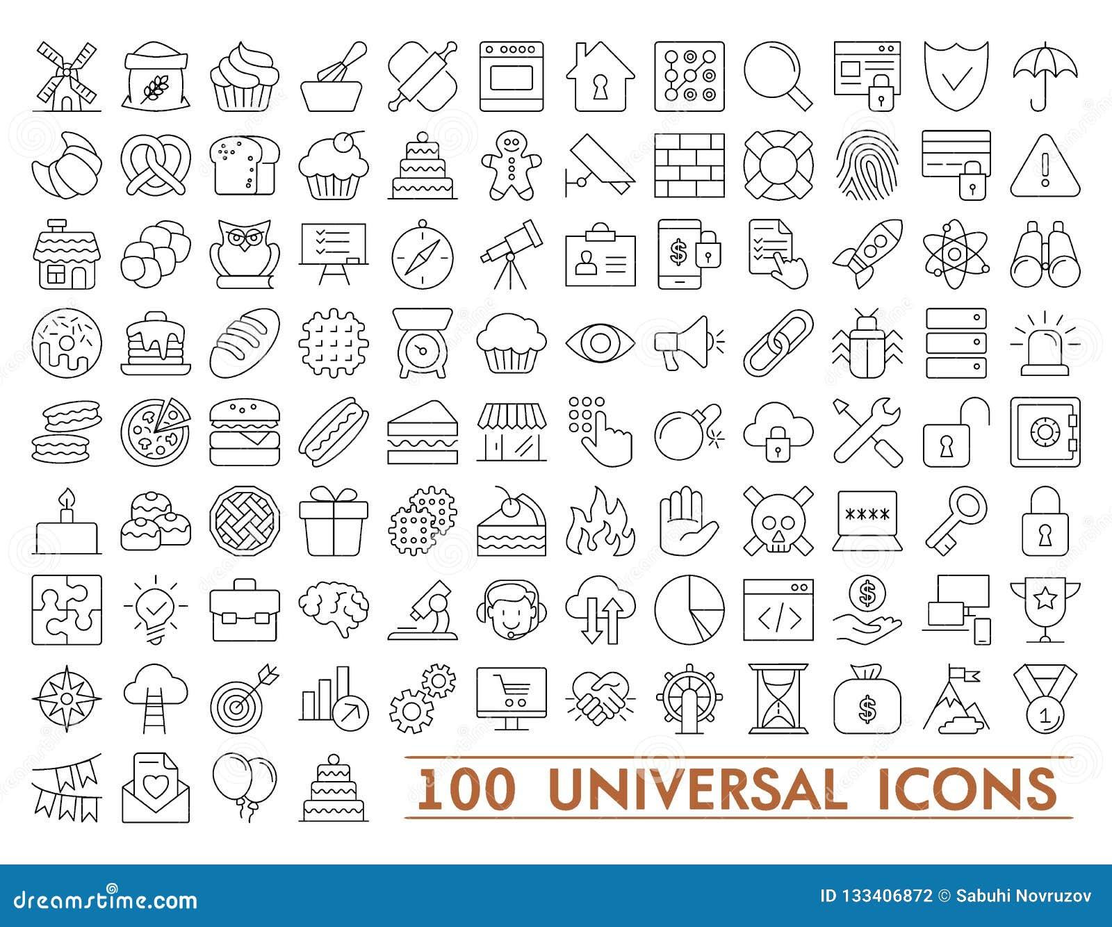 100 σύνολο καθολικών εικονιδίων για τον Ιστό και κινητός Μεγάλη συσκευασία των σύγχρονων minimalistic, λεπτών εικονιδίων γραμμών