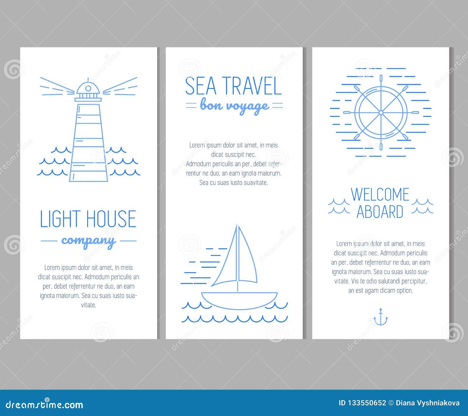 Σύνολο καρτών με τα ναυτικά στοιχεία στο λεπτό ύφος γραμμών