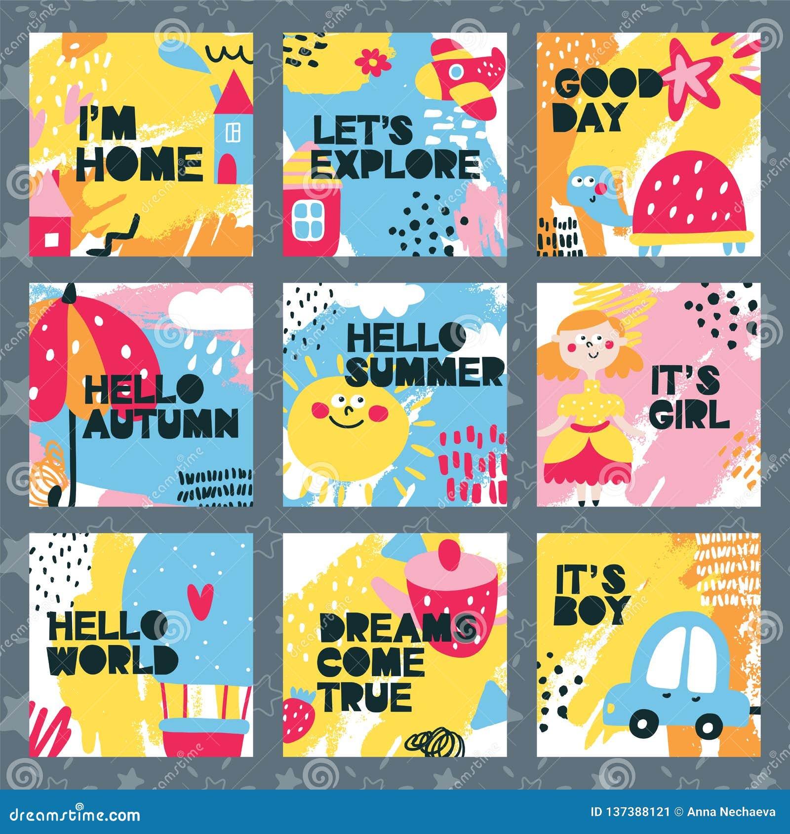 Σύνολο καρτών μωρών με το σπίτι, χρώμα, αυτοκίνητο, κορίτσι, αγόρι, κόσμος, ομπρέλα, χελώνα, θερινό ballon, χαριτωμένο, παιδί