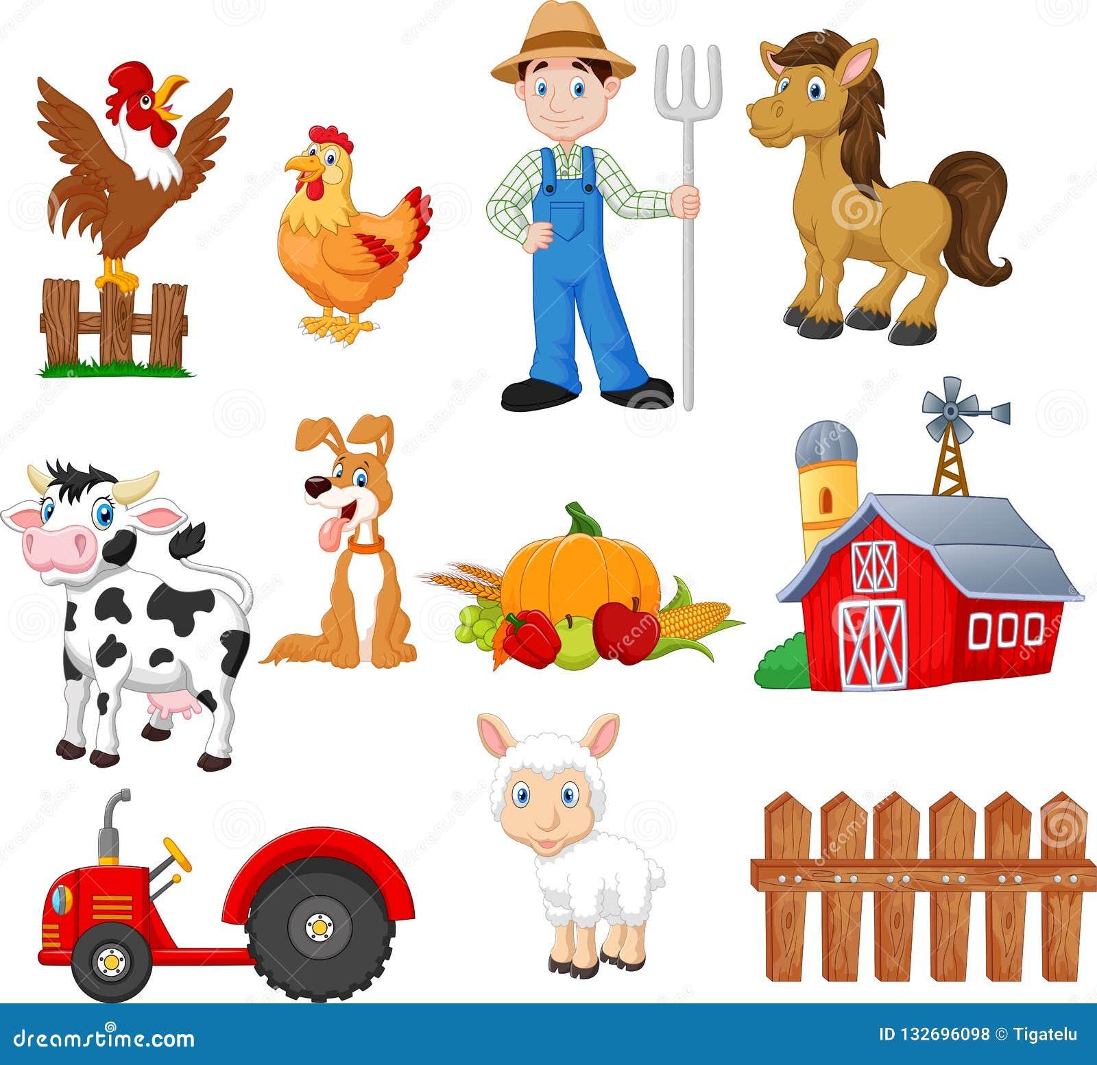 Σύνολο κινούμενων σχεδίων καλλιέργειας με τον αγρότη, τρακτέρ, σιταποθήκη, ζώα, φρούτα και λαχανικά