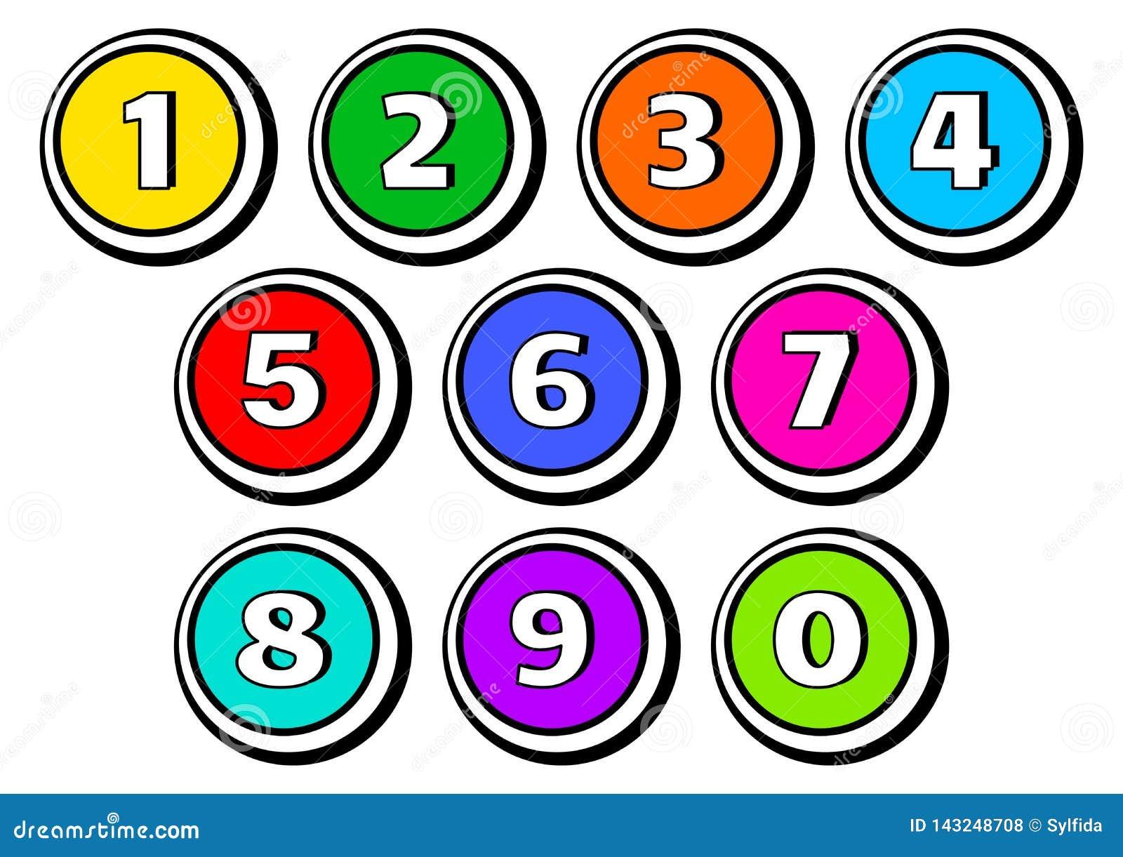 Σύνολο κουμπιών με τους αριθμούς από 1 έως 0 r