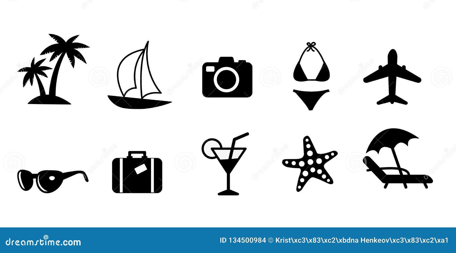 Σύνολο μαύρων επίπεδων διανυσματικών εικονιδίων ταξιδιού και διακοπών Φοίνικας, πλέοντας σκάφος, κάμερα, μαγιό μπικινιών, αεροπλά