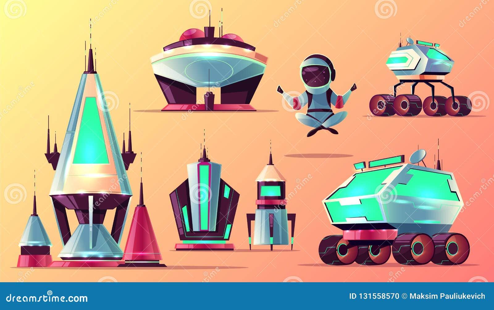 Σύνολο μελλοντικών διαστημικών εξερευνώντας διανυσματικών εικονιδίων κινούμενων σχεδίων