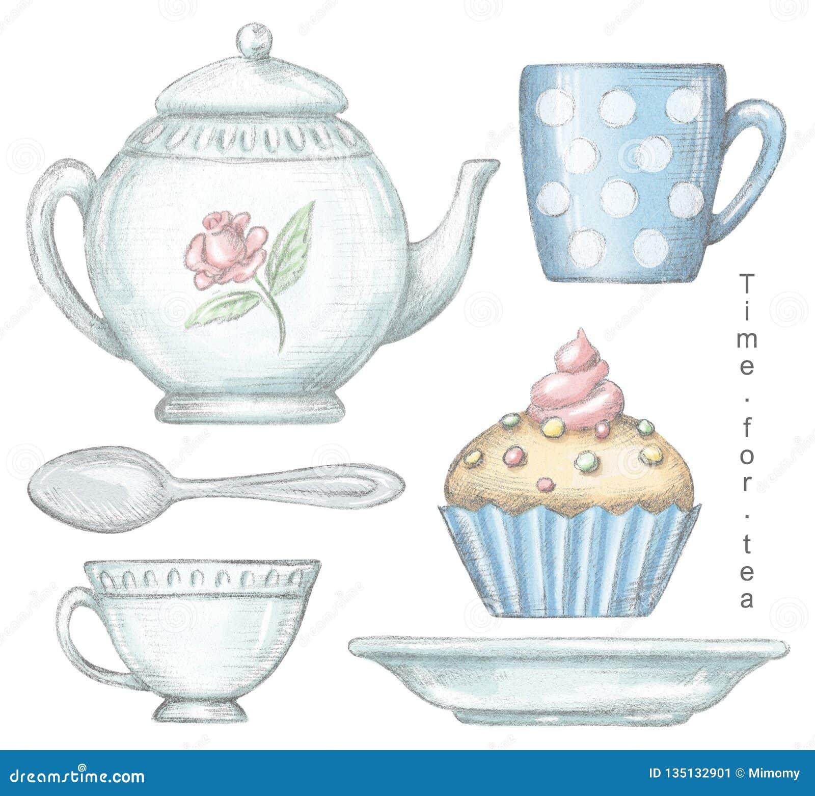 Σύνολο με την κούπα, φλυτζάνι, κουταλάκι του γλυκού, teapot, πιάτο και cupcake