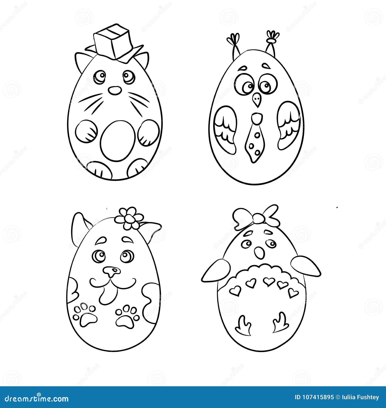Σύνολο με 4 χαριτωμένα ζώα σε μια μορφή των αυγών Πάσχας για το χρωματισμό π