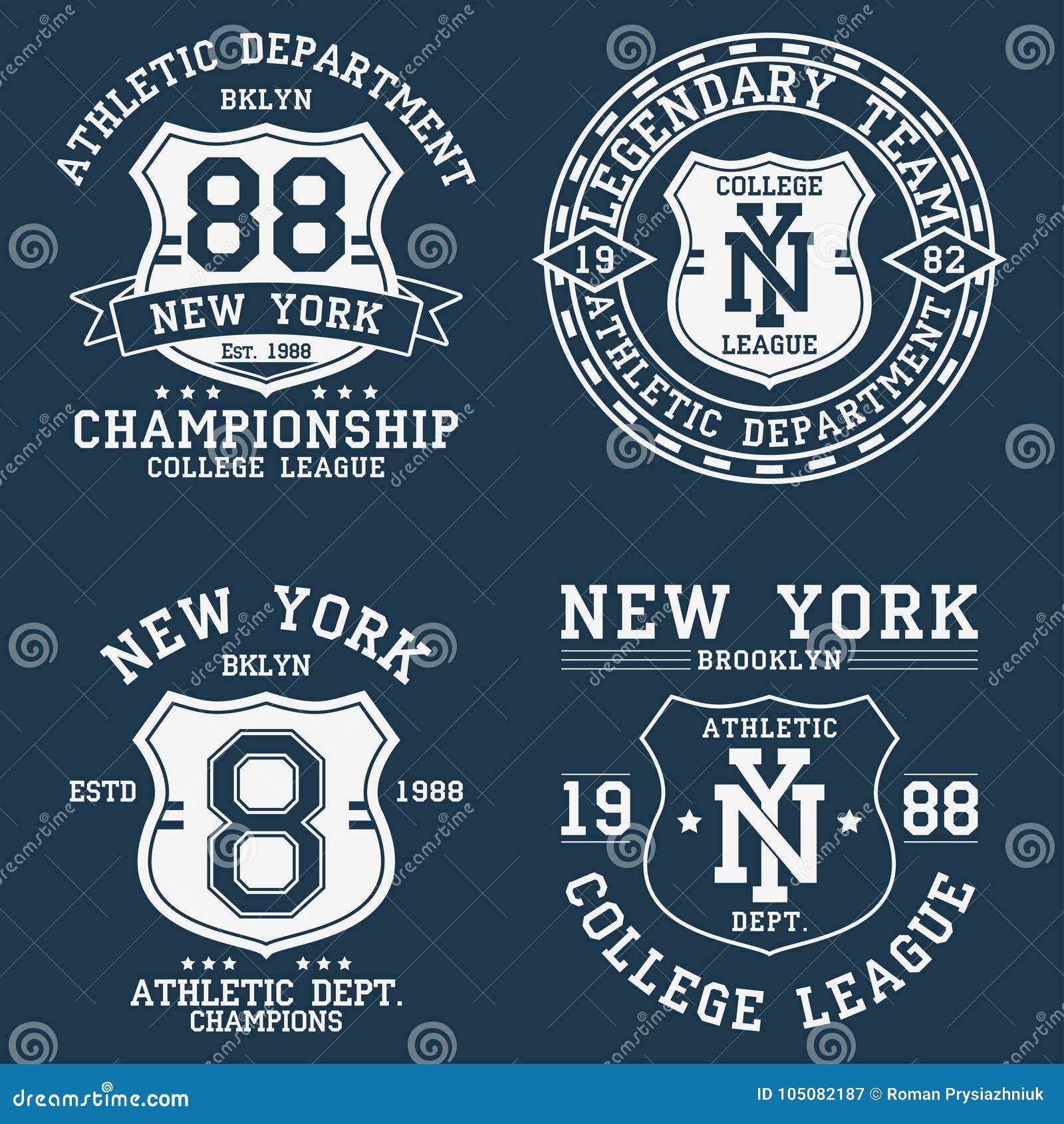 Σύνολο Νέας Υόρκης, εκλεκτής ποιότητας γραφικός της Νέας Υόρκης για την μπλούζα Συλλογή του αρχικού σχεδίου ενδυμάτων με την ασπί