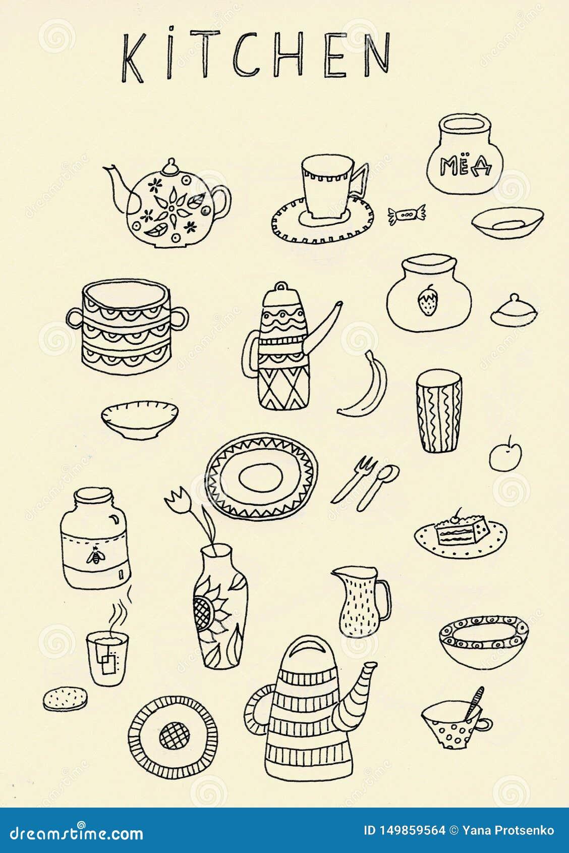 Σύνολο περίληψης εργαλείων κουζινών doodle στο Μαύρο που απομονώνεται πέρα από το άσπρο υπόβαθρο