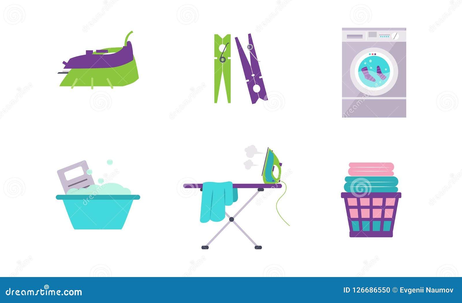 Σύνολο πλυντηρίων, πλυντήριο, λεκάνη, clothespin, σίδηρος, διανυσματική απεικόνιση πινάκων σιδερώματος σε ένα άσπρο υπόβαθρο