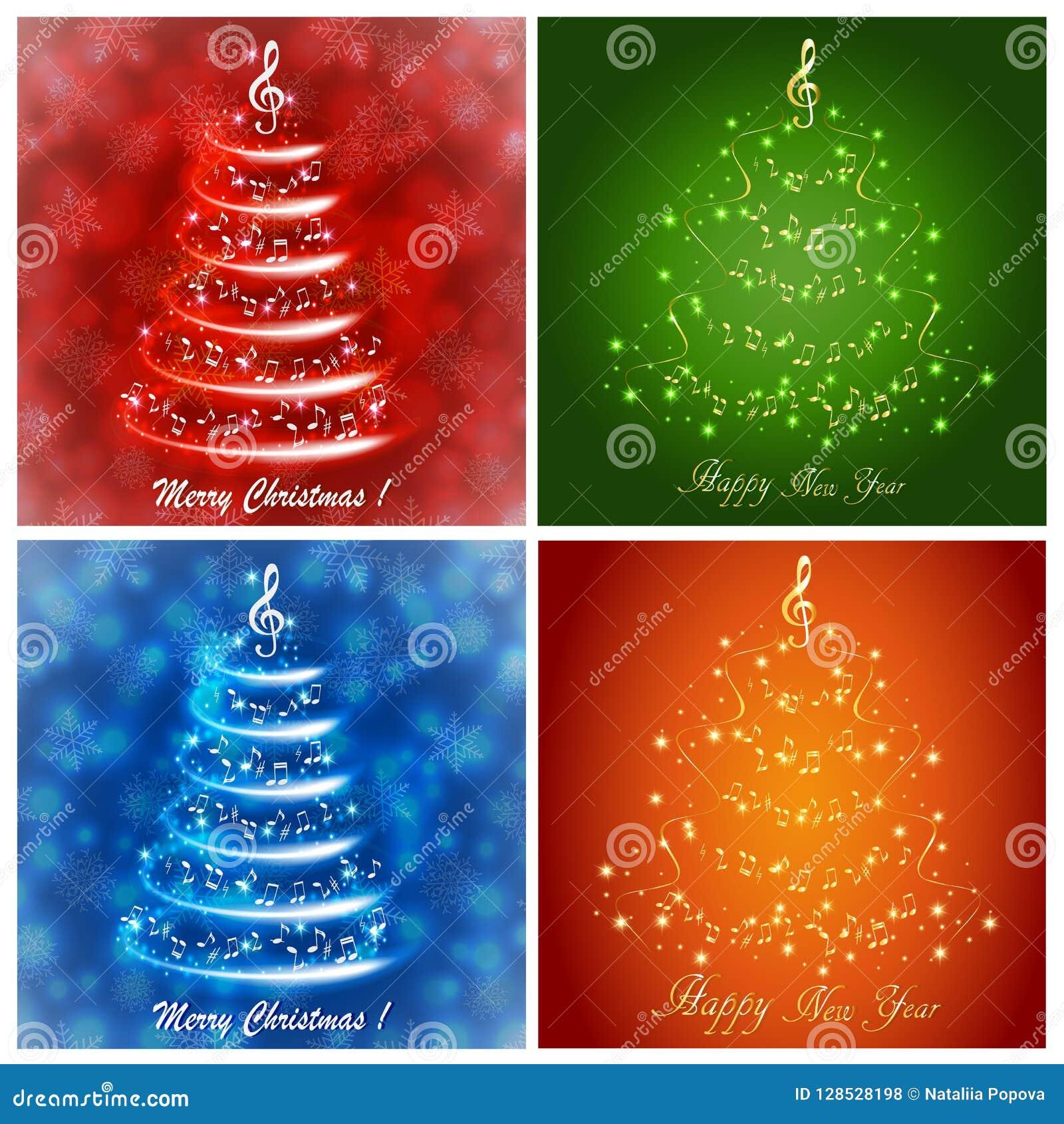 Σύνολο πολύχρωμων ευχετήριων καρτών με ένα αφηρημένο μουσικό χριστουγεννιάτικο δέντρο, με τις σημειώσεις και το τριπλό clef