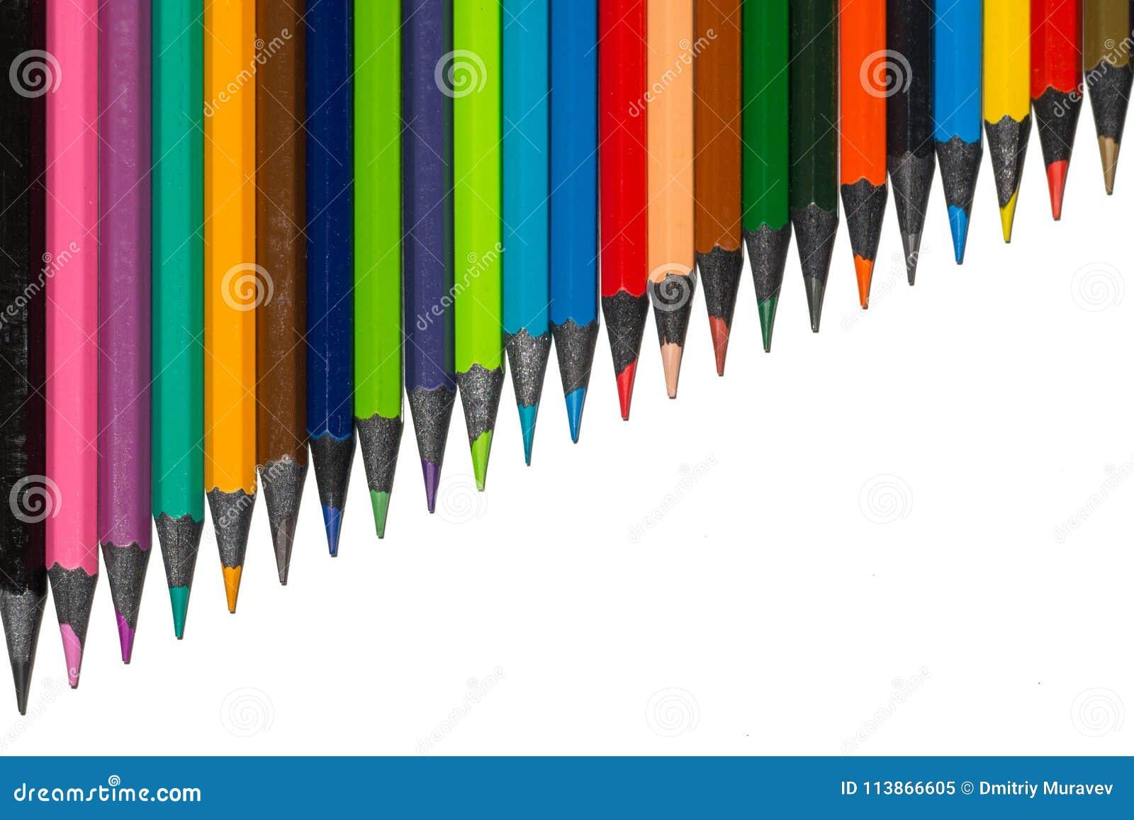 Σύνολο πολύχρωμων pensils που αυξάνονται τη σειρά από το ebony ξύλο