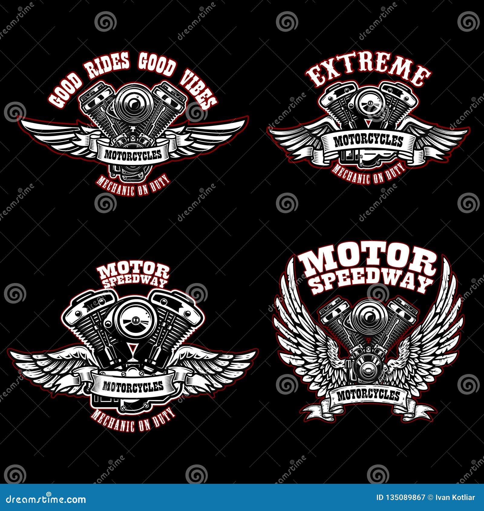 Σύνολο προτύπων εμβλημάτων ποδηλατών με τις φτερωτές μηχανές μοτοσικλετών Στοιχείο σχεδίου για το λογότυπο, ετικέτα, έμβλημα, σημ
