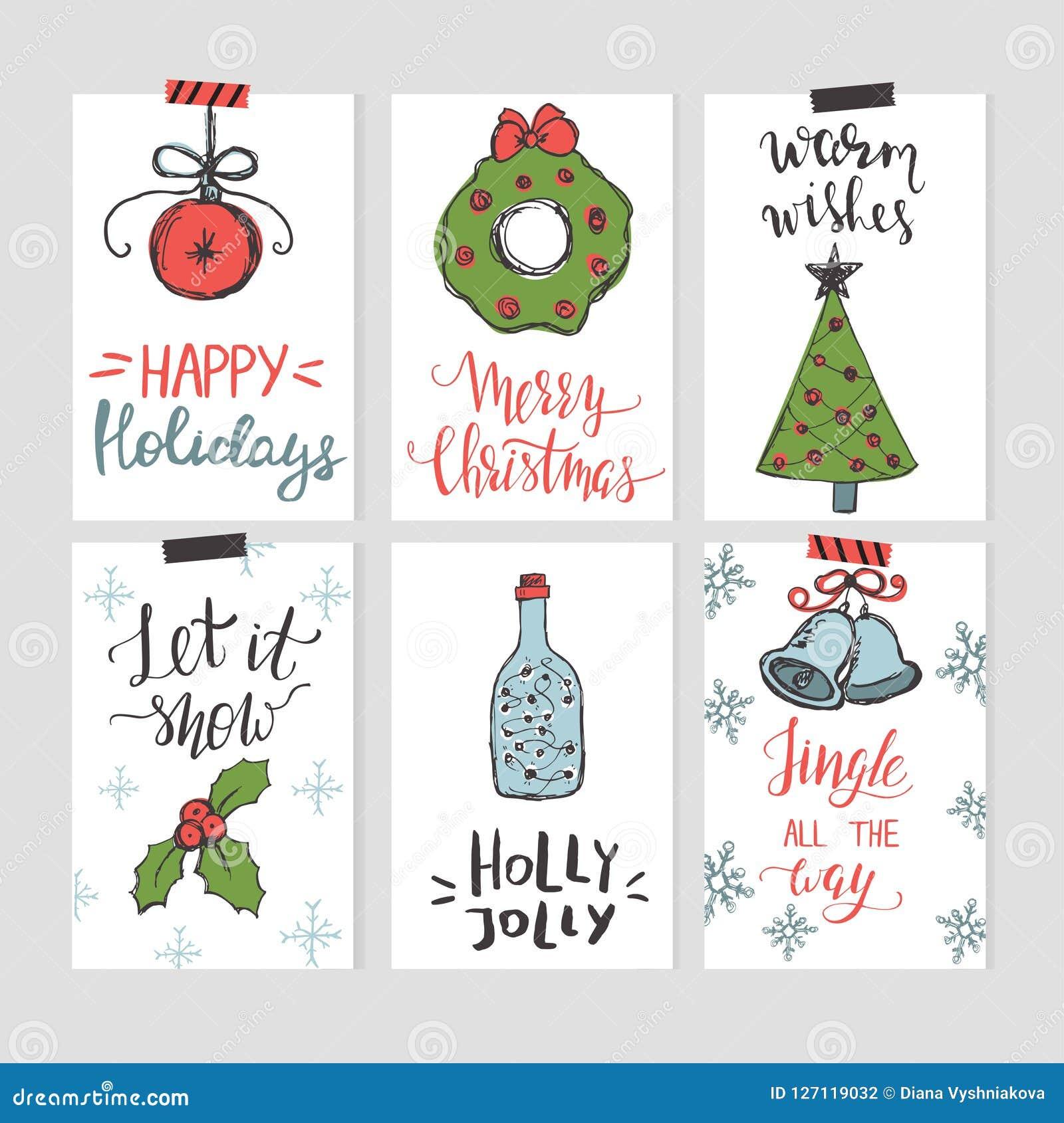 Σύνολο προτύπων καρτών Χριστουγέννων με συρμένα τα χέρι στοιχεία