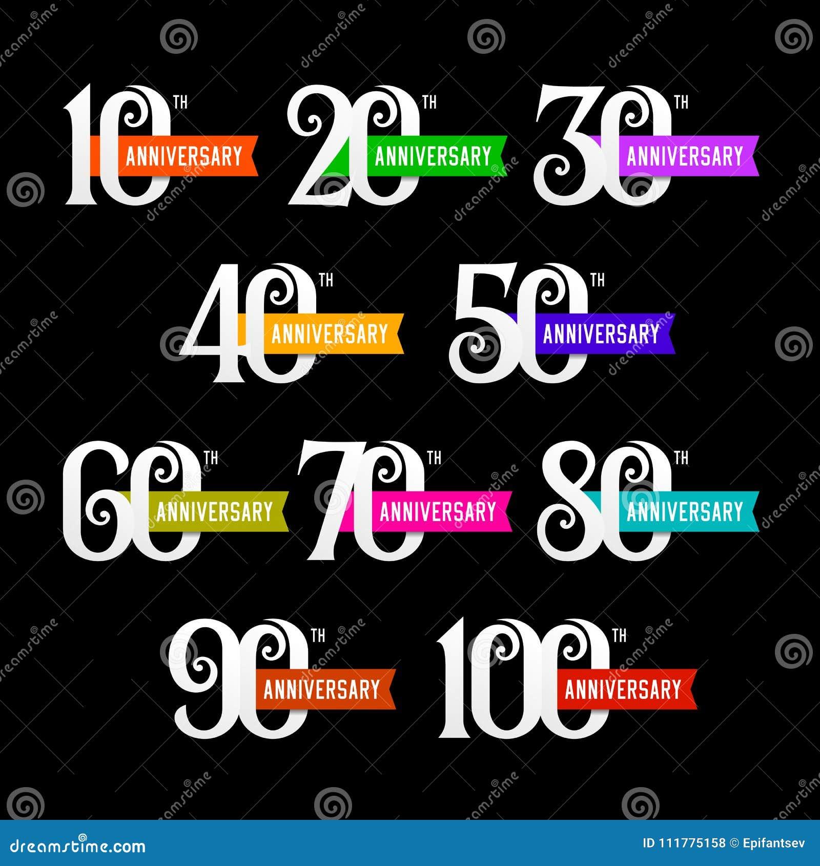Σύνολο σημαδιών επετείου από 10 έως 100 Αριθμοί στο μαύρο υπόβαθρο
