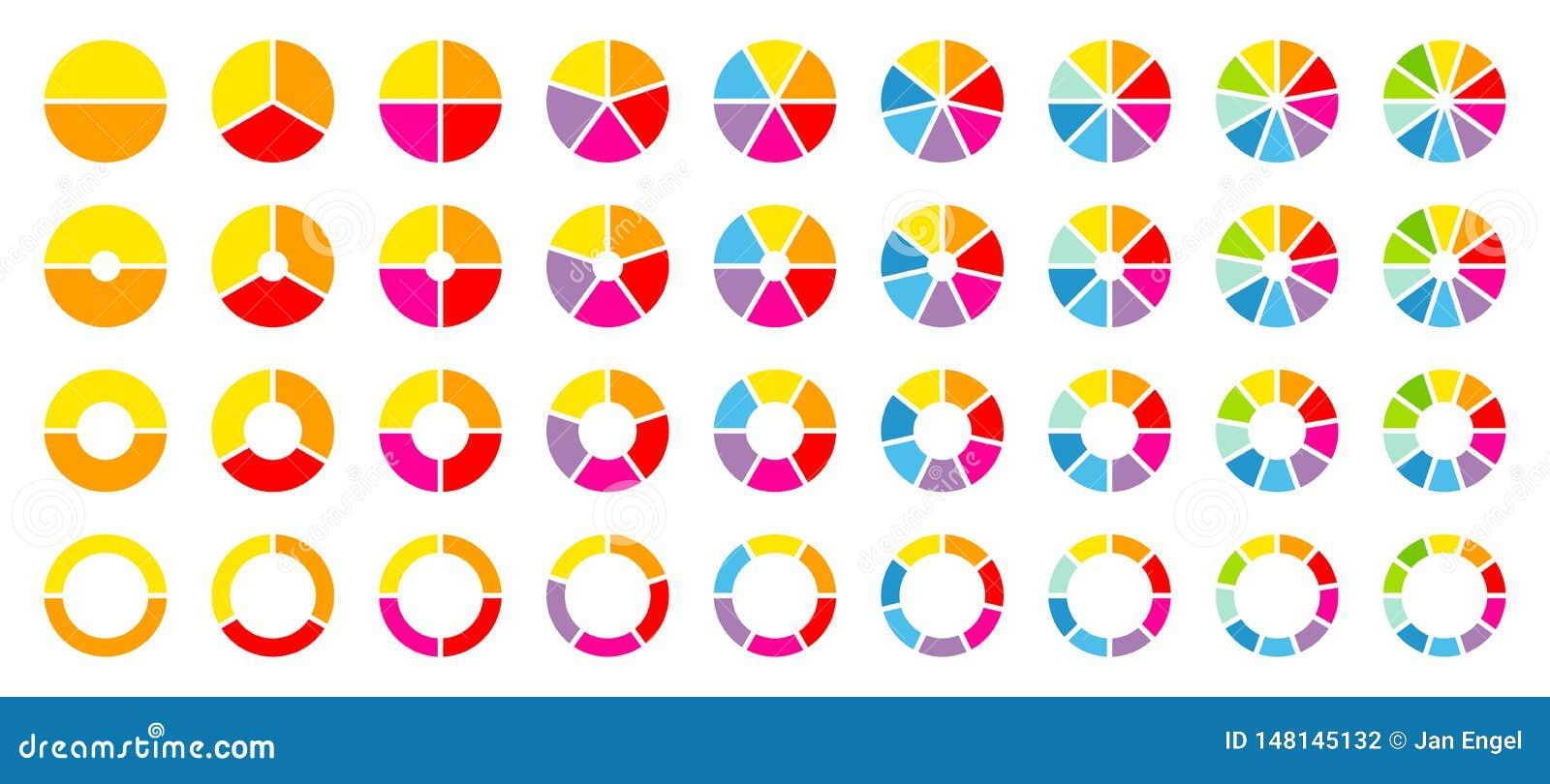Σύνολο στρογγυλού χρώματος διαγραμμάτων πιτών