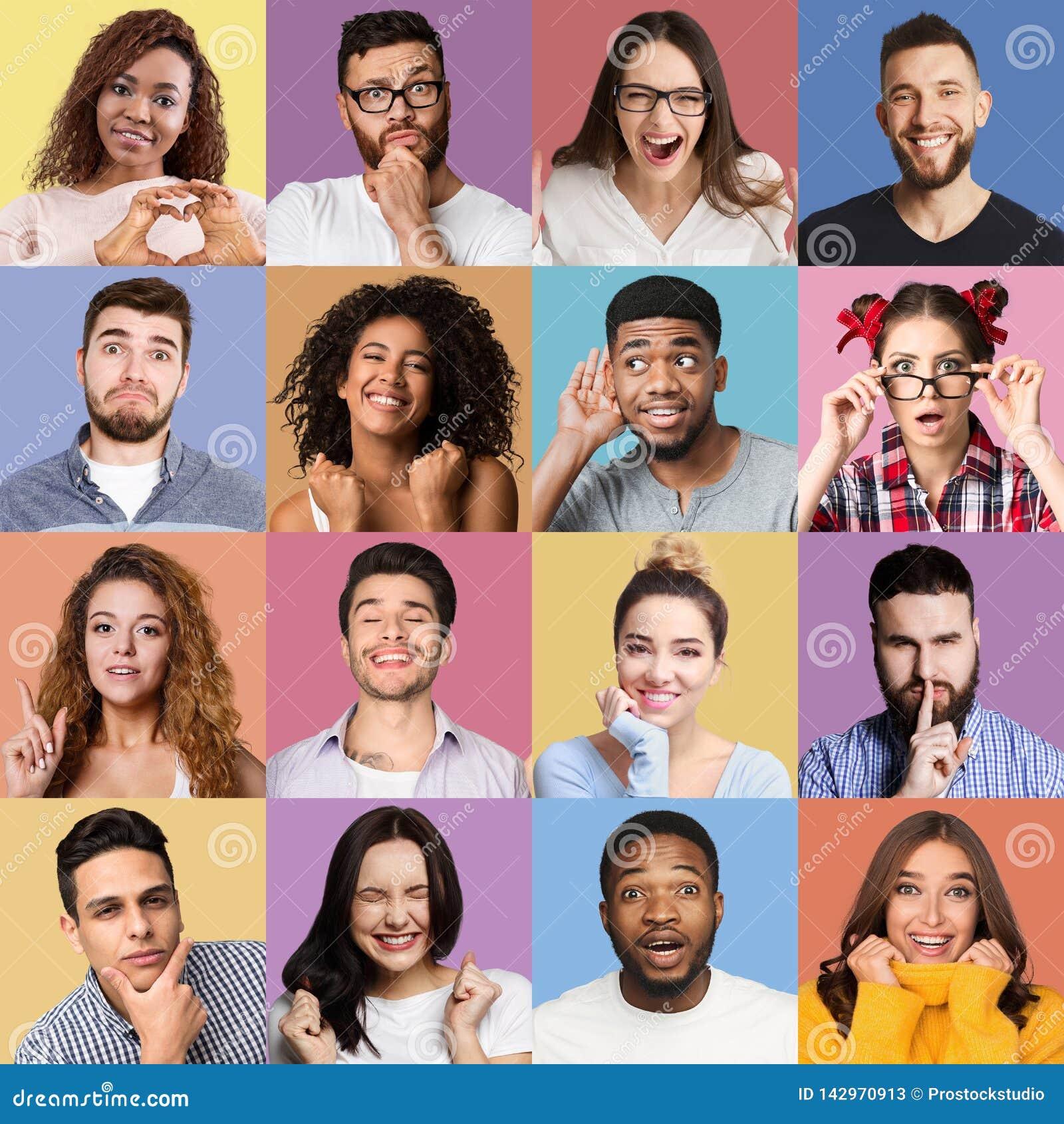 Σύνολο συναισθηματικών πορτρέτων millennials