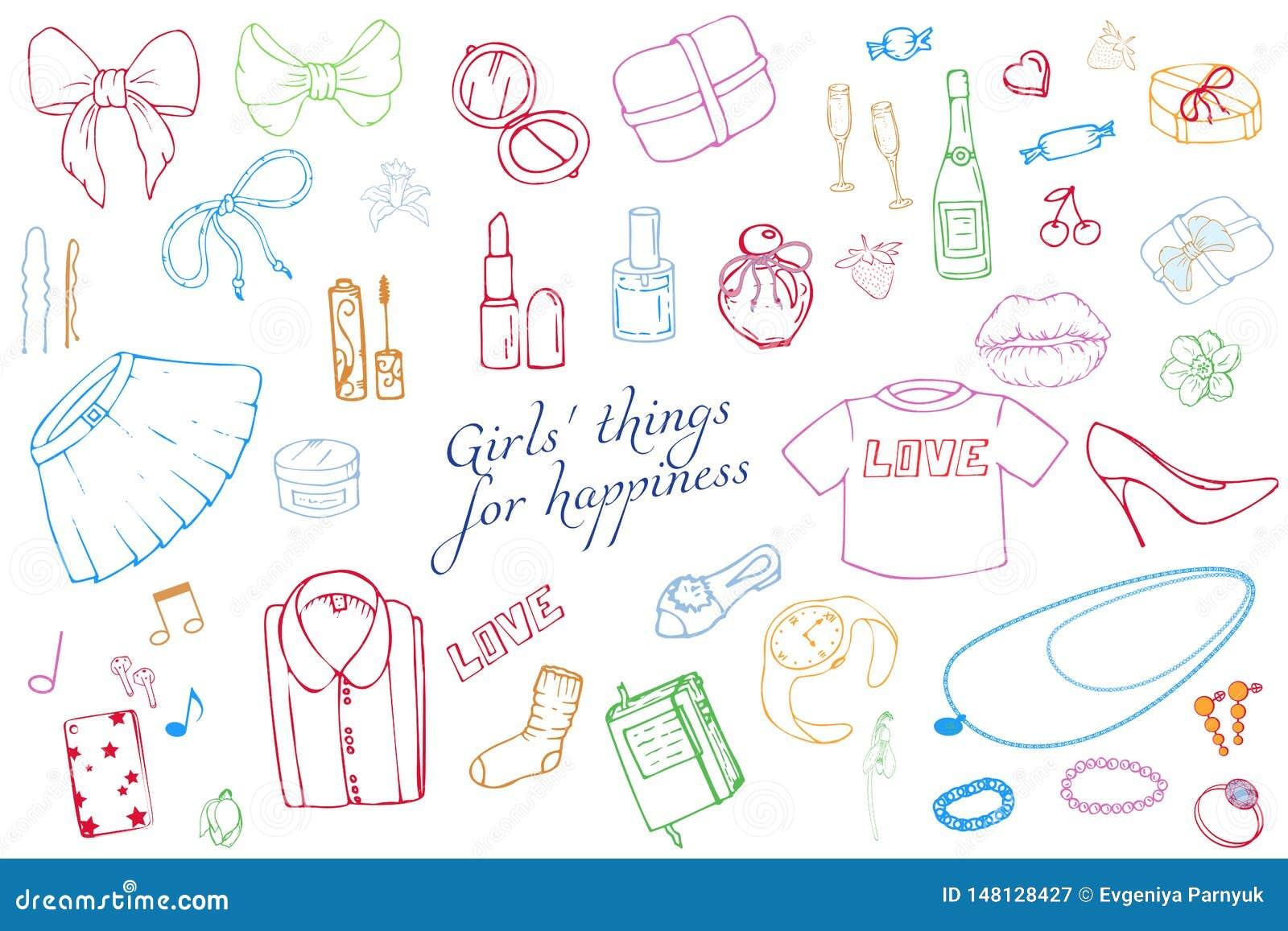 Σύνολο συρμένης χέρι απεικόνισης μόδας προτύπων με την ουσία κοριτσιών Σύνολο ιματισμού, κοσμήματος, καλλυντικών, δώρων και ειδυλ