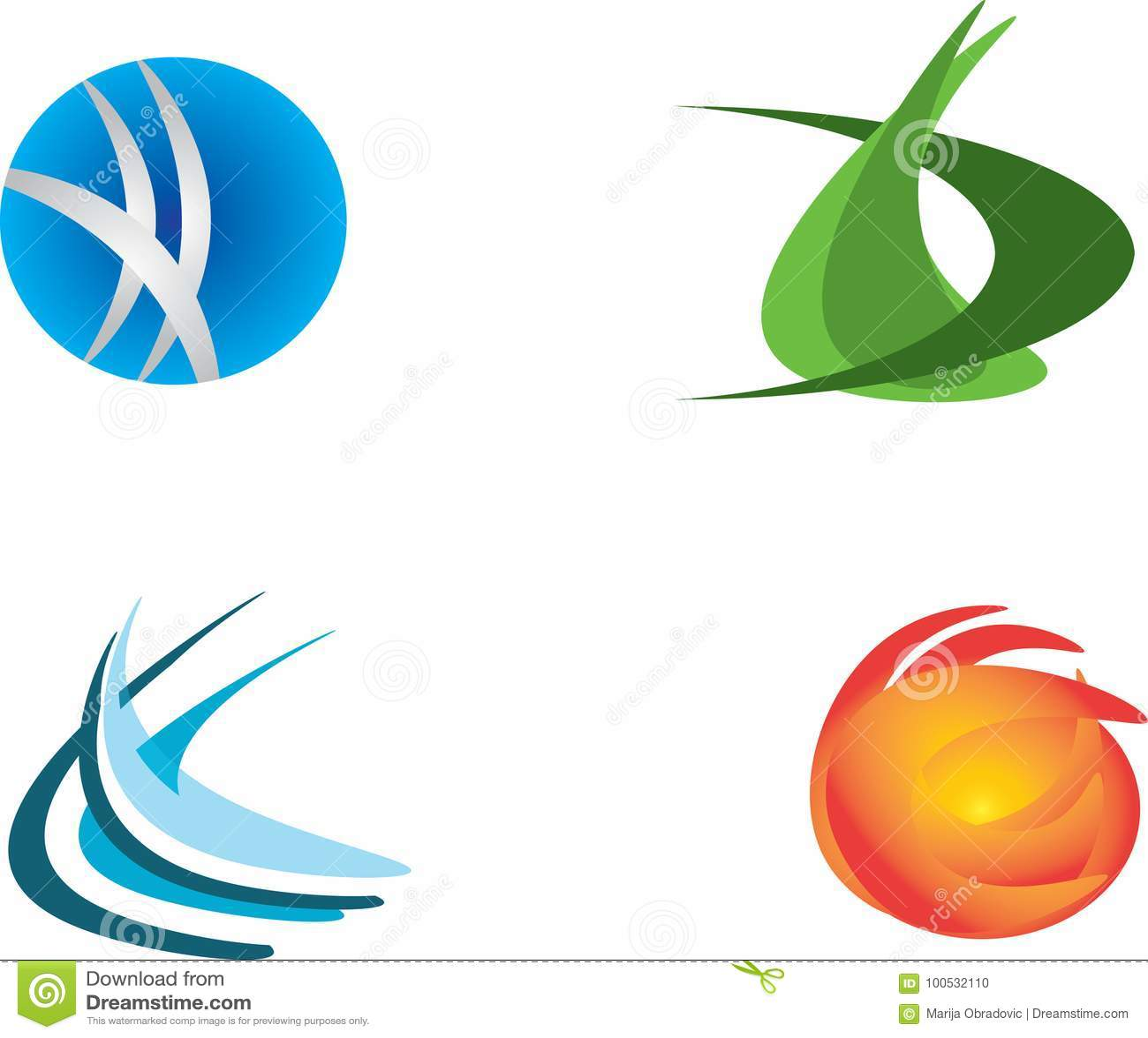 Σύνολο σχεδίου τεσσάρων λογότυπων
