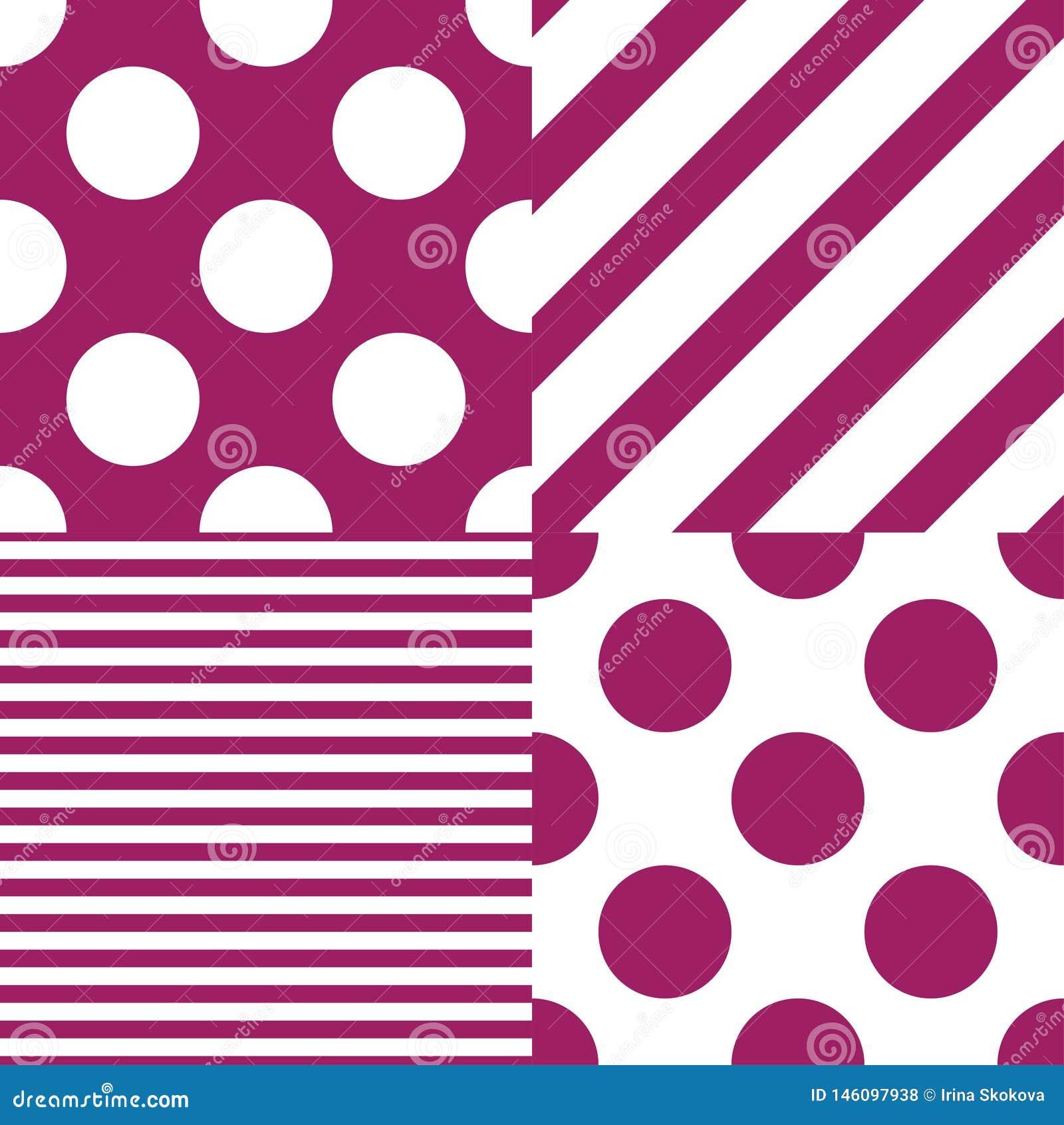 Σύνολο τεσσάρων διανυσματικών άνευ ραφής σχεδίων Άσπρα και πορφυρά χρώματα