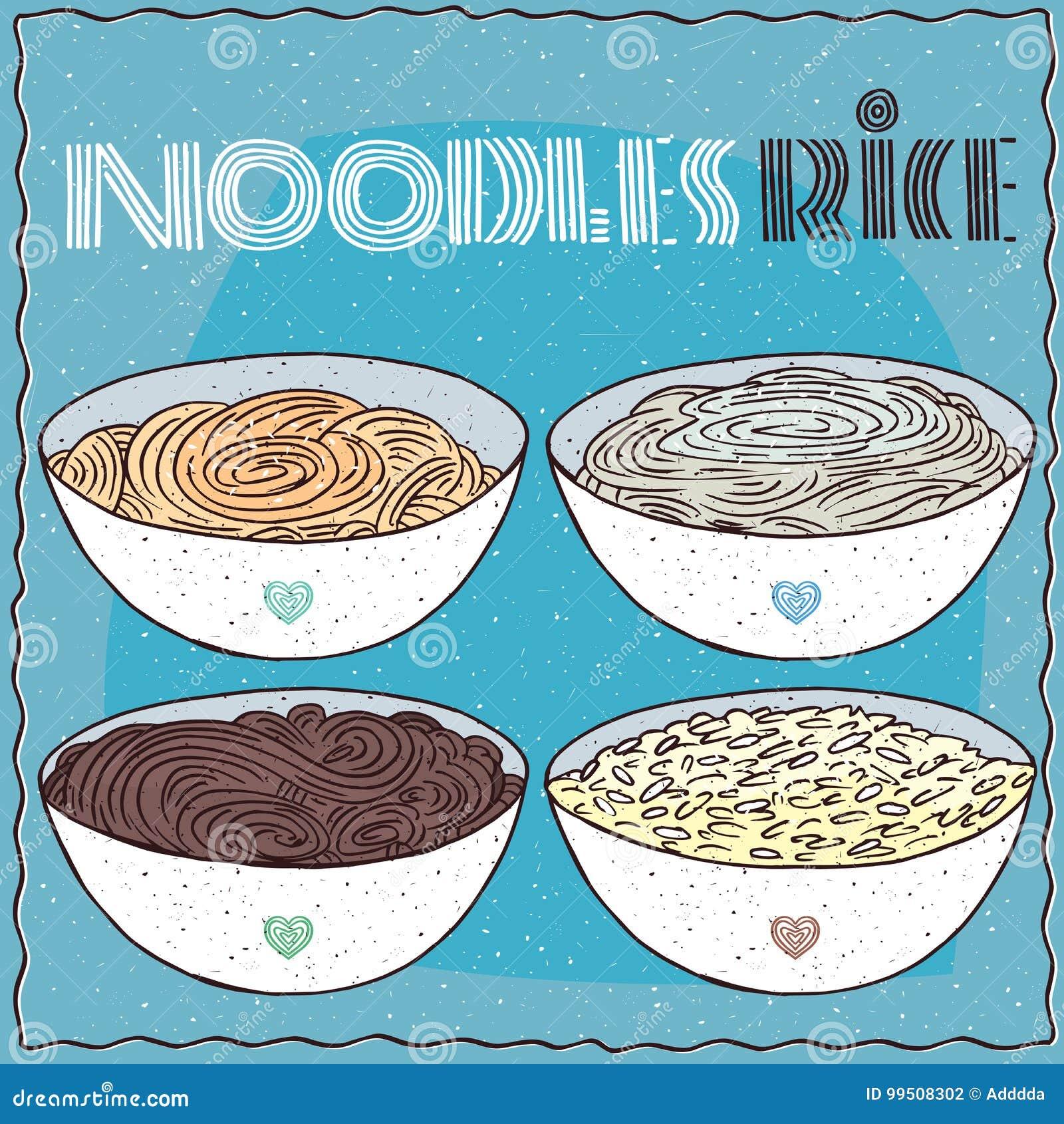 Σύνολο τεσσάρων κύπελλων με τα νουντλς και το ρύζι