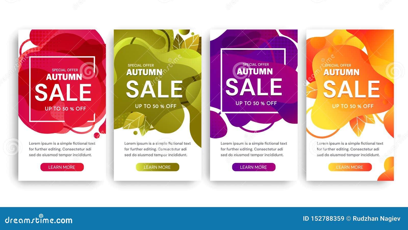 Σύνολο τεσσάρων σχεδίων αφισών πώλησης φθινοπώρου στα διαφορετικά χρώματα που προσφέρουν μέχρι την έκπτωση 50 τοις εκατό και τις