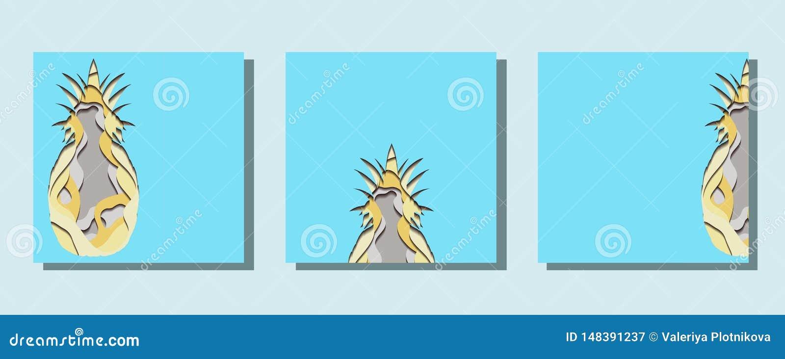 Σύνολο τετραγωνικών καρτών με την απεικόνιση εγγράφου του ανανά που αποκόπτει του εγγράφου Κάρτα με την τρισδιάστατη πολυστρωματι