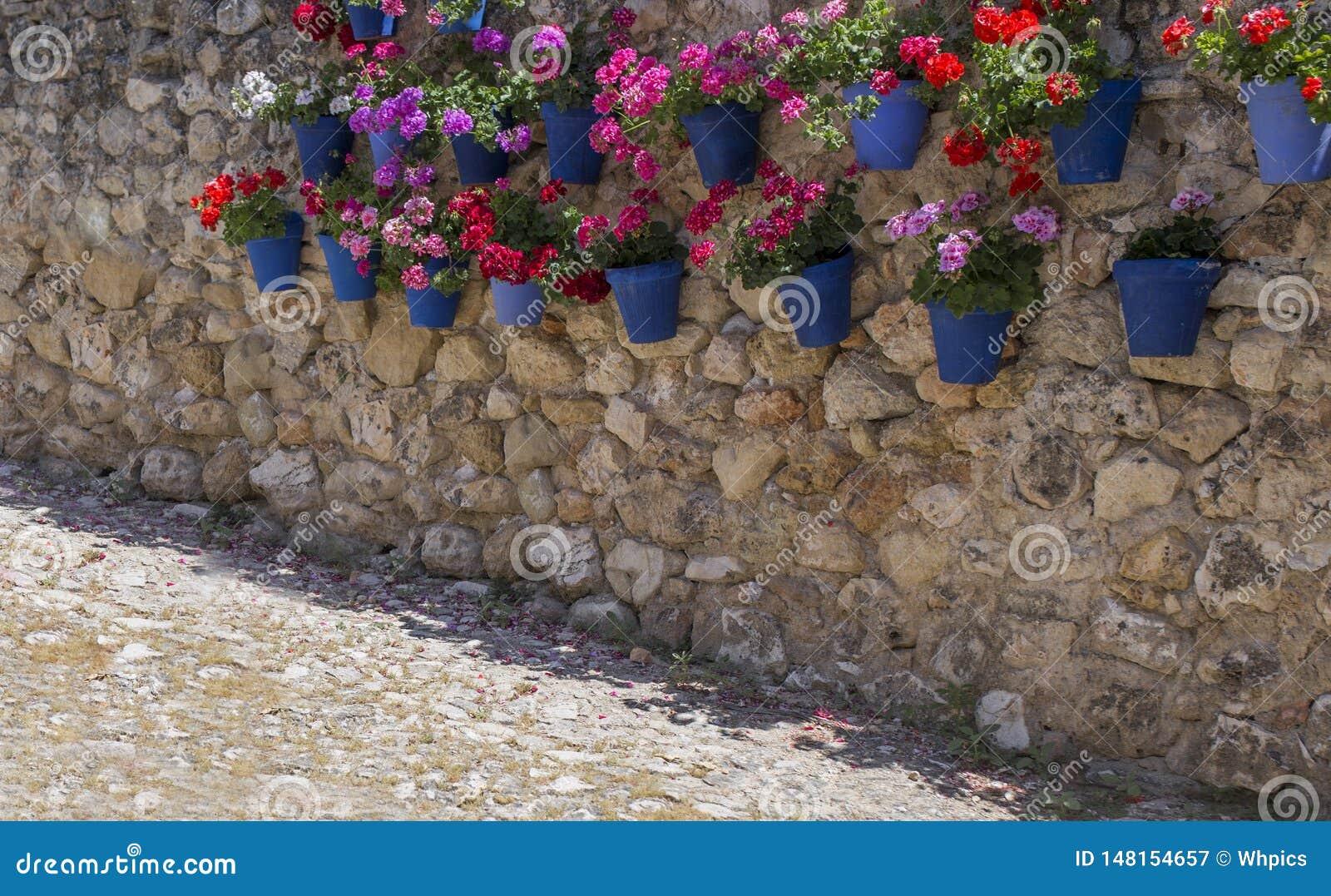 Σύνολο τοίχων βράχου συνημμένα μπλε flowerpots