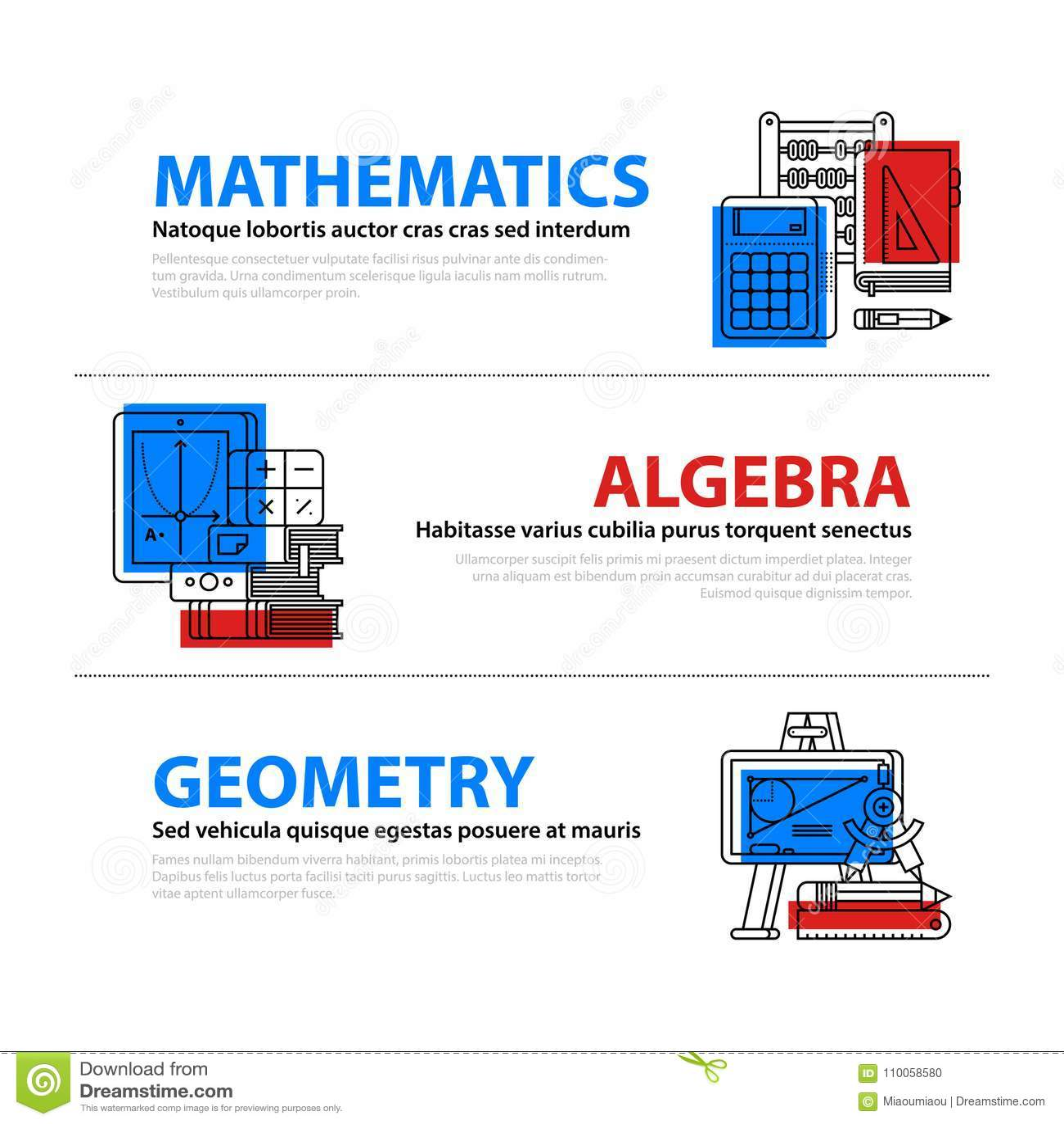 44b09f97a70 Σύνολο τριών εμβλημάτων Ιστού για τα θέματα εκπαίδευσης και κολλεγίων στο  επίπεδο ύφος απεικόνισης Μαθηματικά,