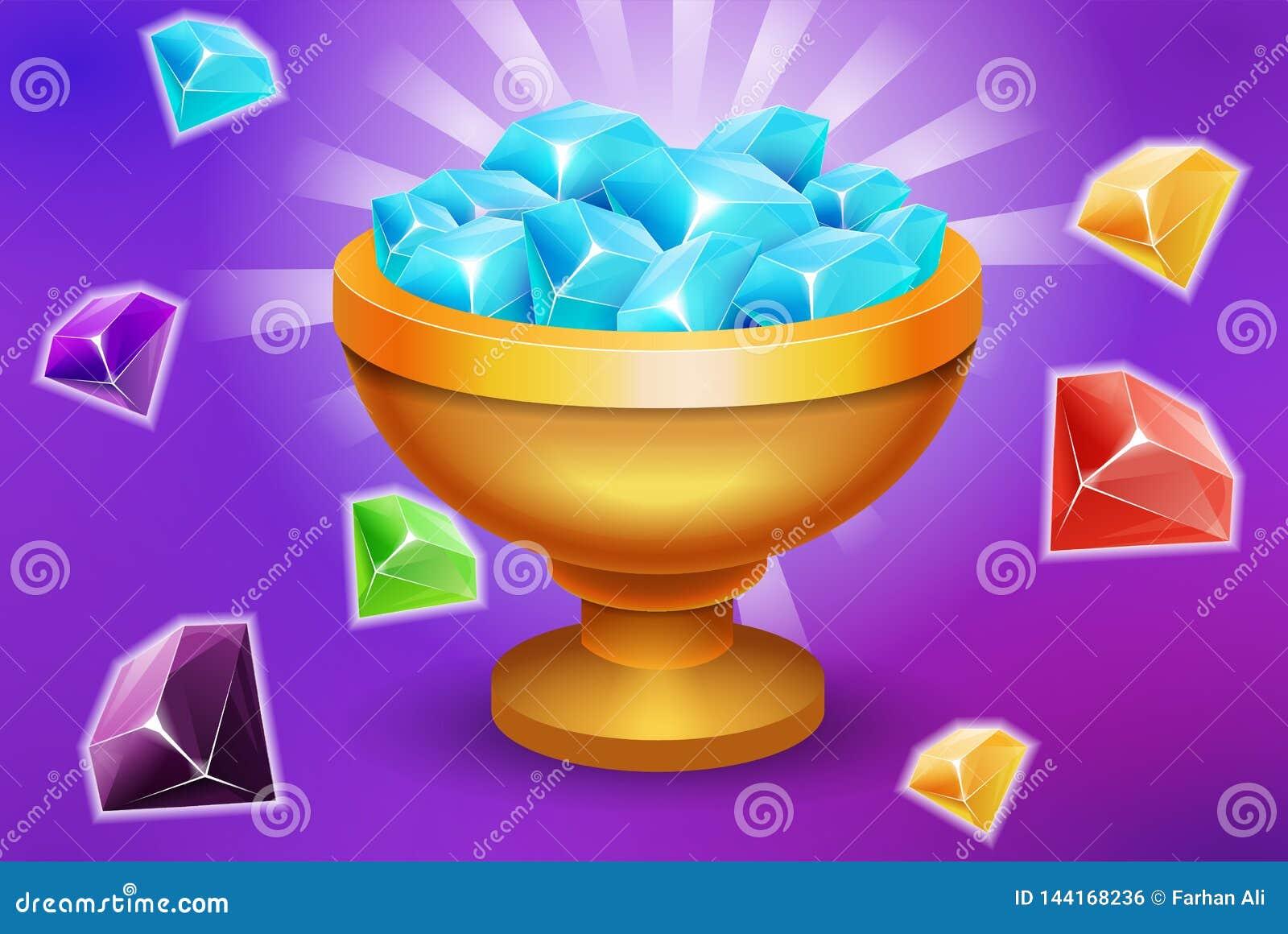 Σύνολο τροπαίων των προτερημάτων στοιχείων παιχνιδιών πολύτιμων λίθων και πετρών για τη νίκη ή το πανδοχείο app