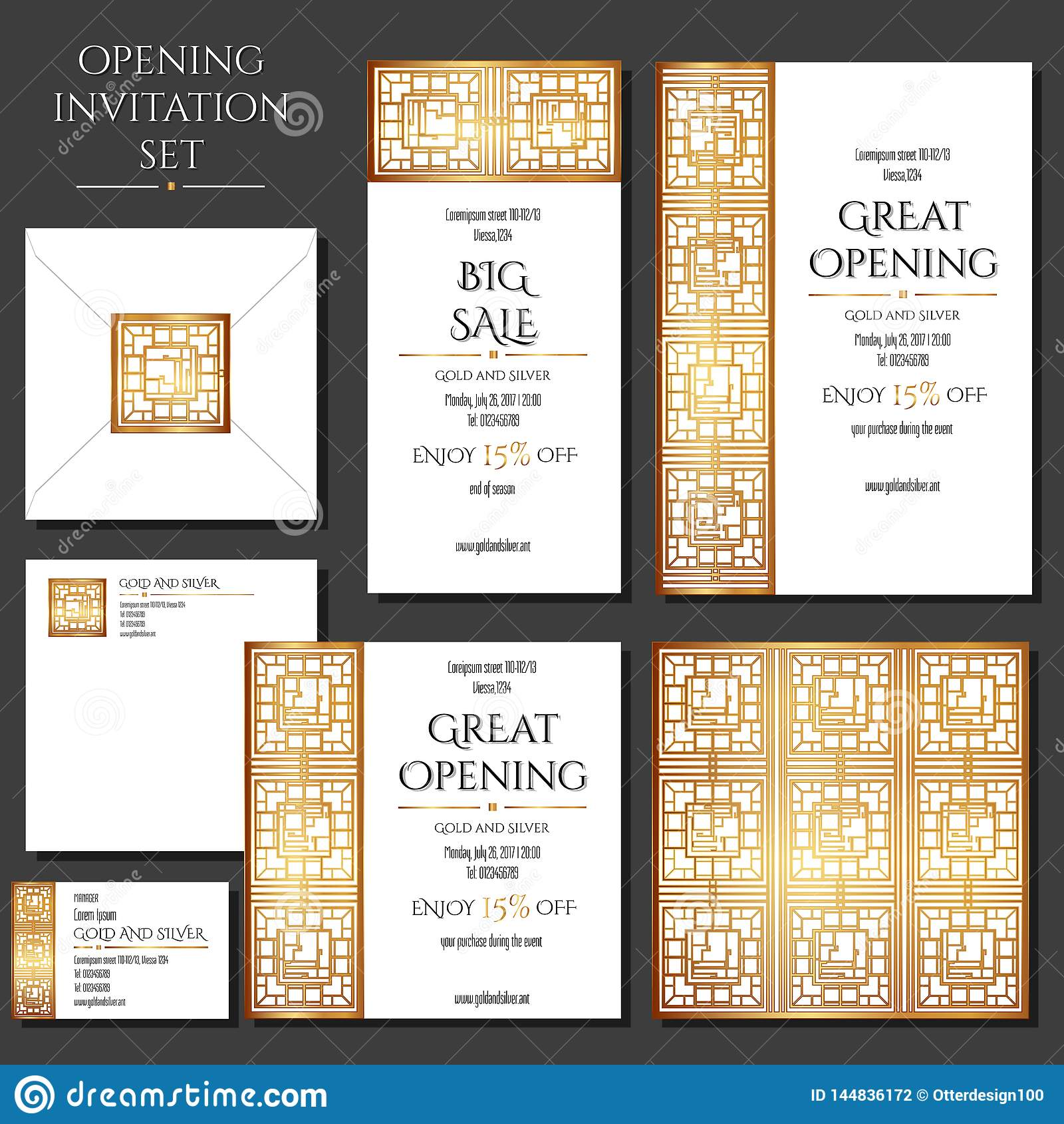 Σύνολο των καρτών πρόσκλησης με τη χρυσή διακόσμηση Άνοιγμα καταστημάτων Συλλογή: κάρτες, φάκελος, επαγγελματική κάρτα