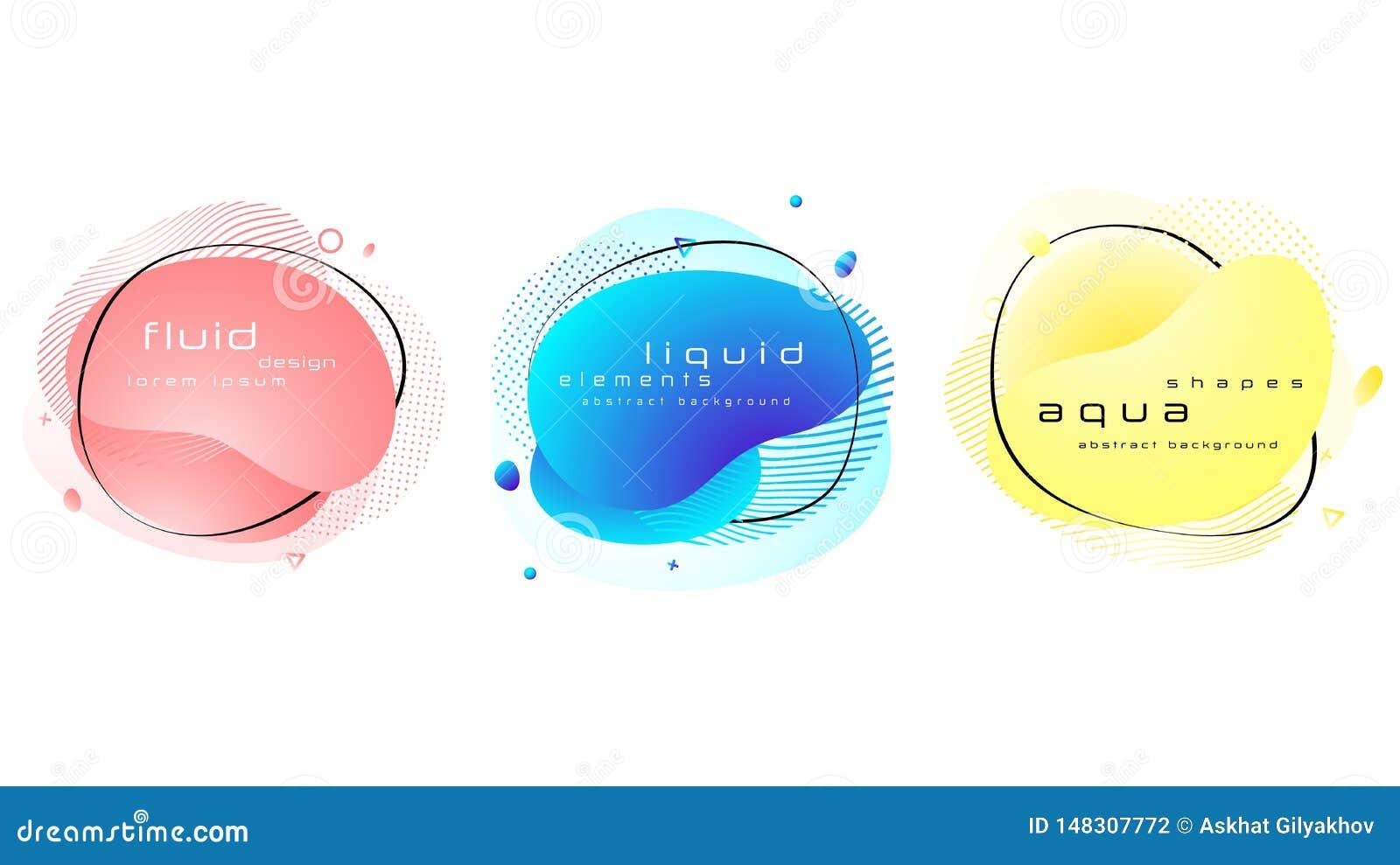 Σύνολο υγρών αφηρημένων γεωμετρικών μορφών χρώματος κρητιδογραφιών