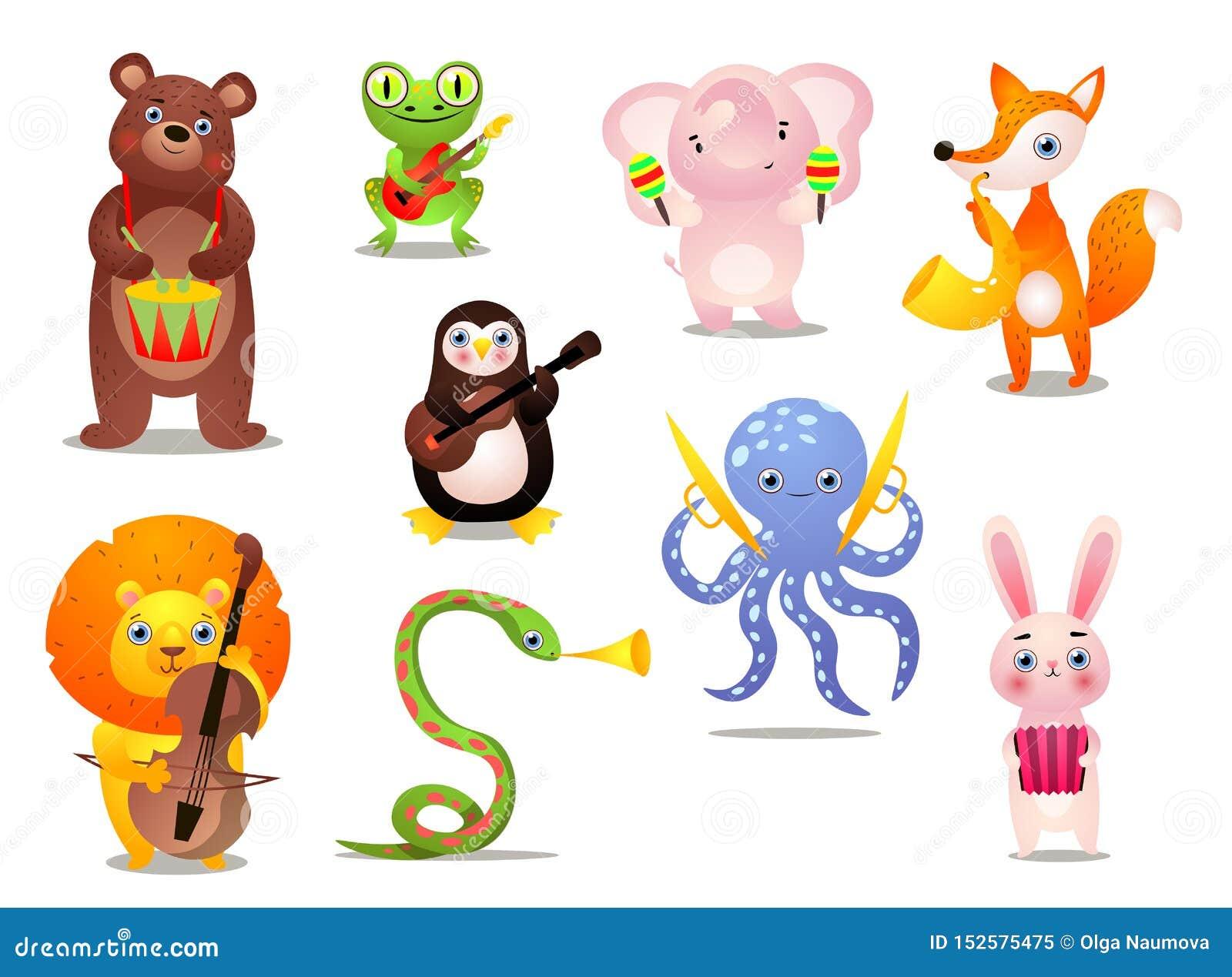 Σύνολο χαριτωμένων ζωηρόχρωμων ζώων μουσικών με το διαφορετικό όργανο
