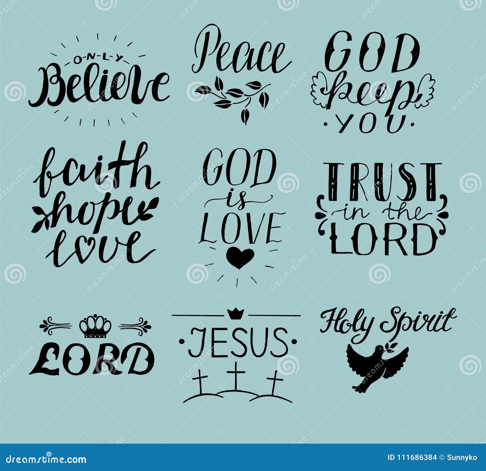 Σύνολο χεριού 9 που γράφει τα χριστιανικά αποσπάσματα Ιησούς ιερό πνεύμα Εμπιστευθείτε το Λόρδο ειρήνη Μόνο θεωρήστε πίστη ελπίδα