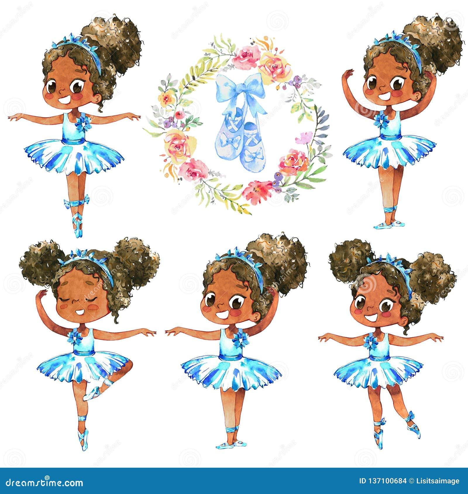 Σύνολο χορευτών χαρακτήρα πριγκηπισσών Ballerina αφροαμερικάνων Χαριτωμένη παιδιών κοριτσιών κατάρτιση κοστουμιών Tutu ένδυσης μπ
