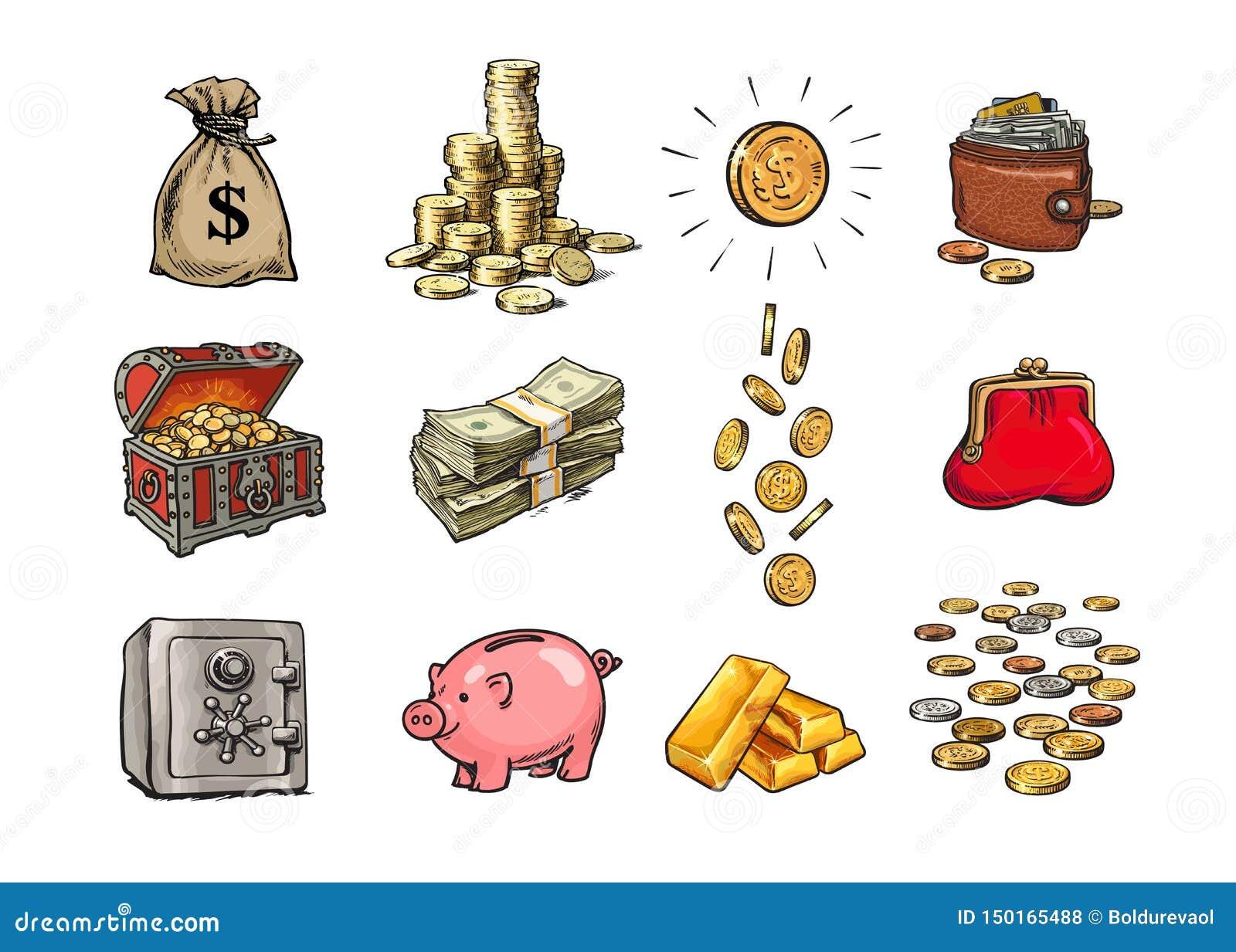Σύνολο χρημάτων χρηματοδότησης κινούμενων σχεδίων Σάκος των δολαρίων, σωρός των νομισμάτων, νόμισμα με το σημάδι δολαρίων, στήθος
