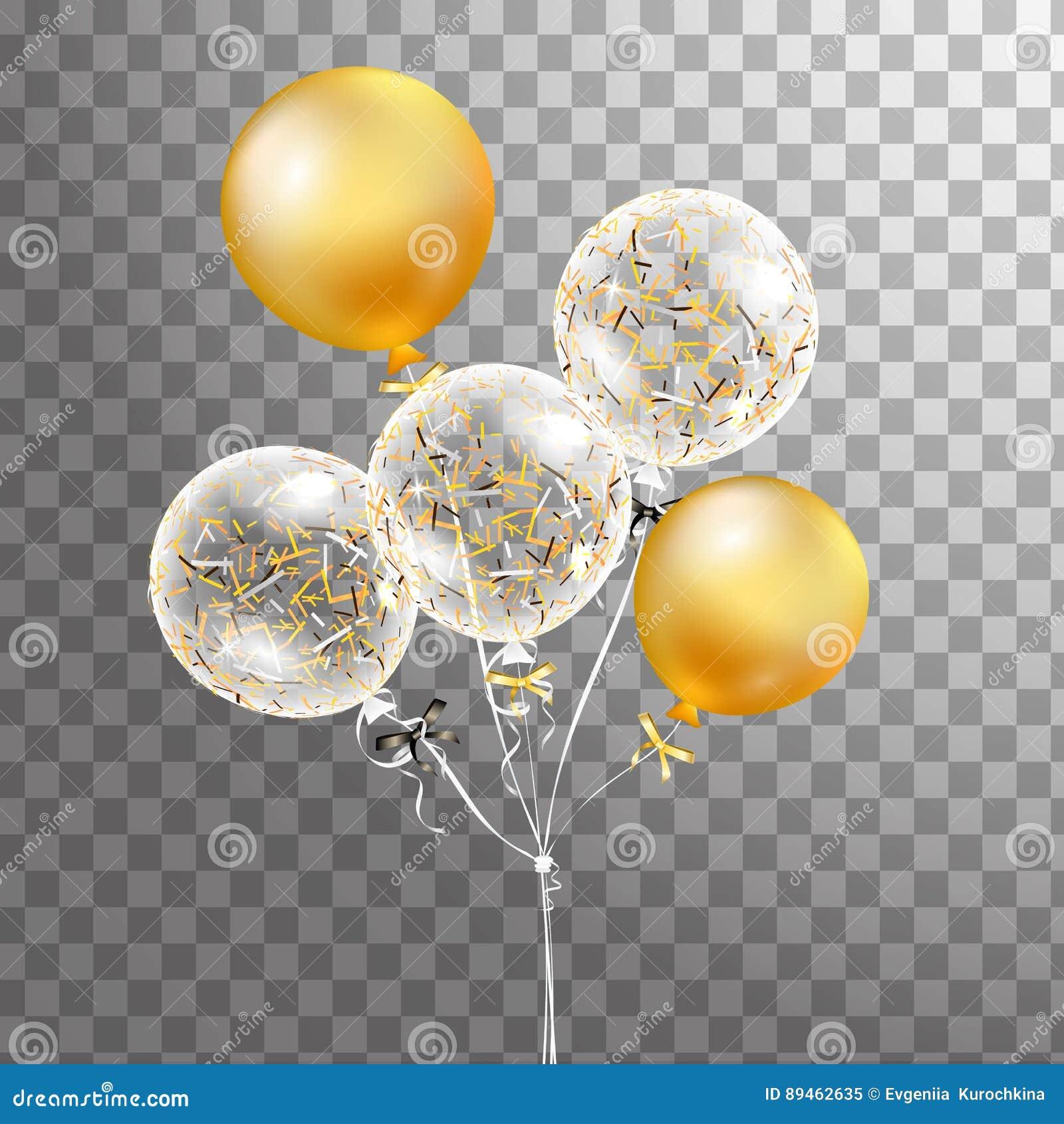 Σύνολο χρυσού, άσπρου διαφανούς μπαλονιού ηλίου που απομονώνεται στον αέρα Παγωμένα μπαλόνια κομμάτων για το σχέδιο γεγονότος Δια
