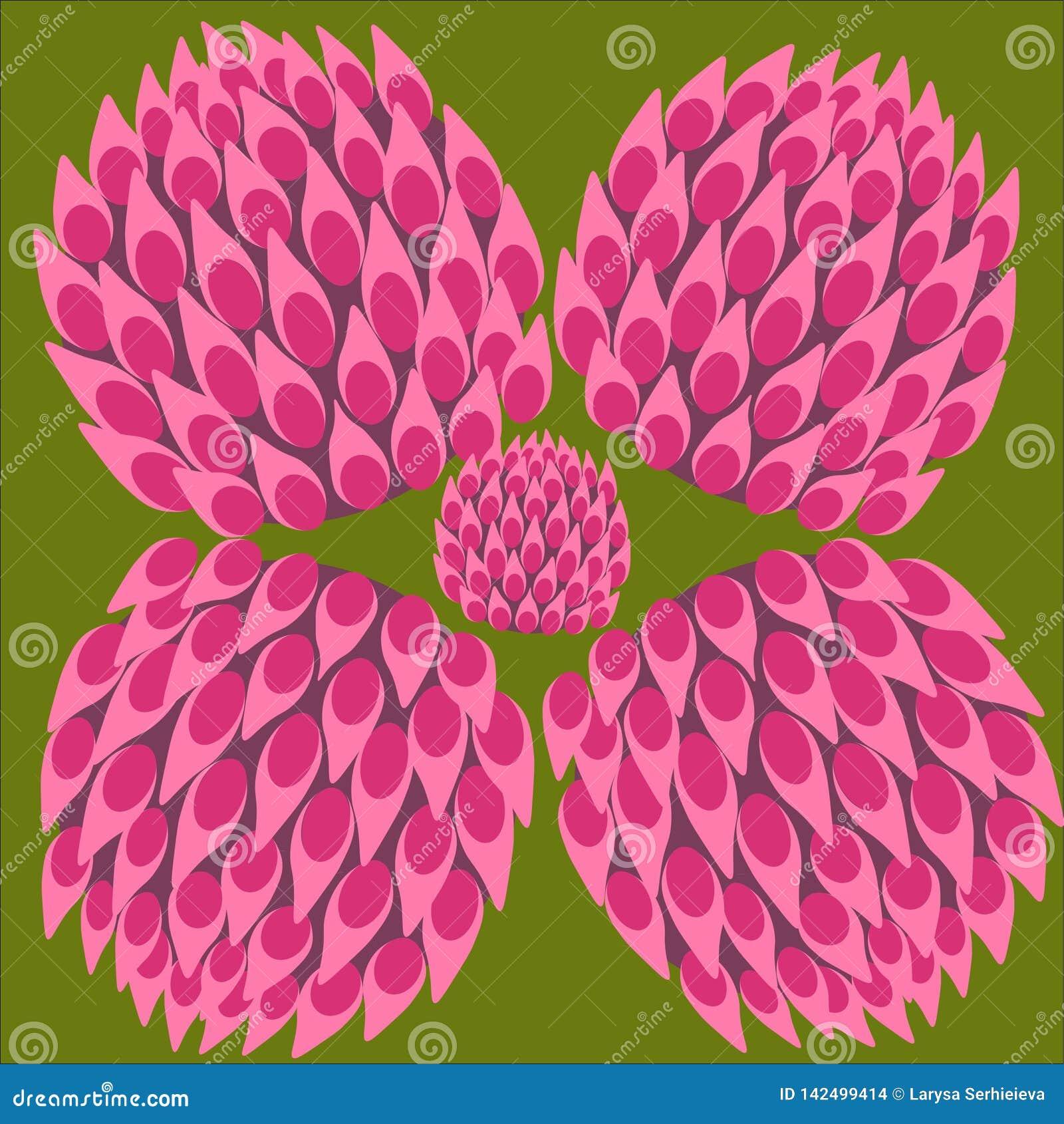 Σύνολο χρώματος τριφυλλιού, σύμβολο τύχης, αφηρημένο λουλούδι τριφυλλιού