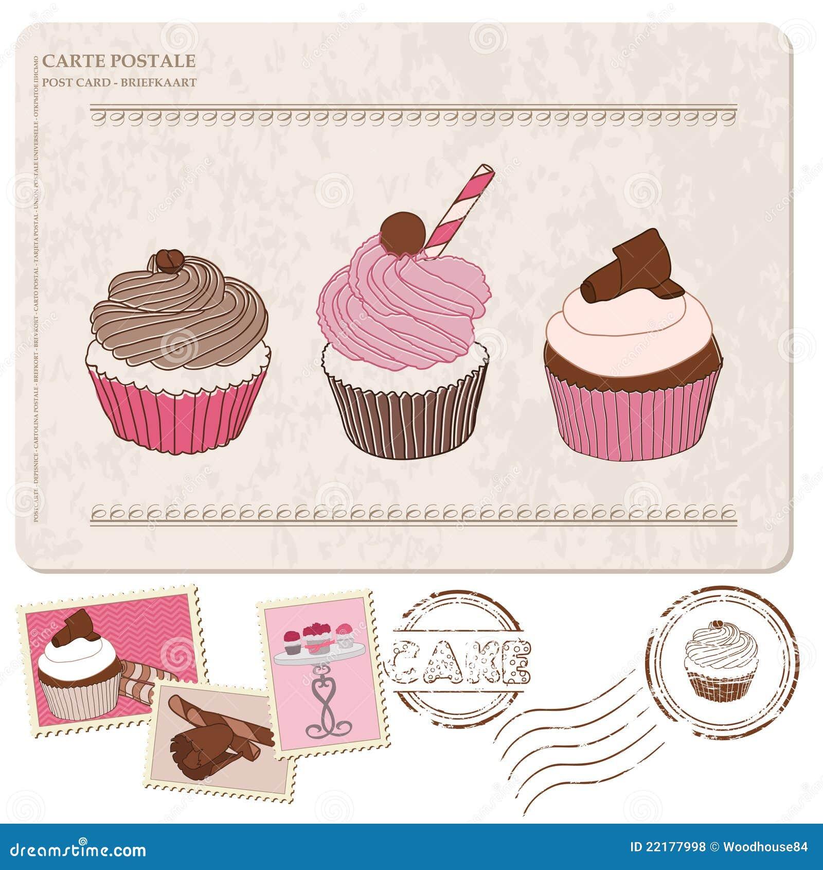 Σύνολο cupcakes στην παλαιά κάρτα, με τα γραμματόσημα