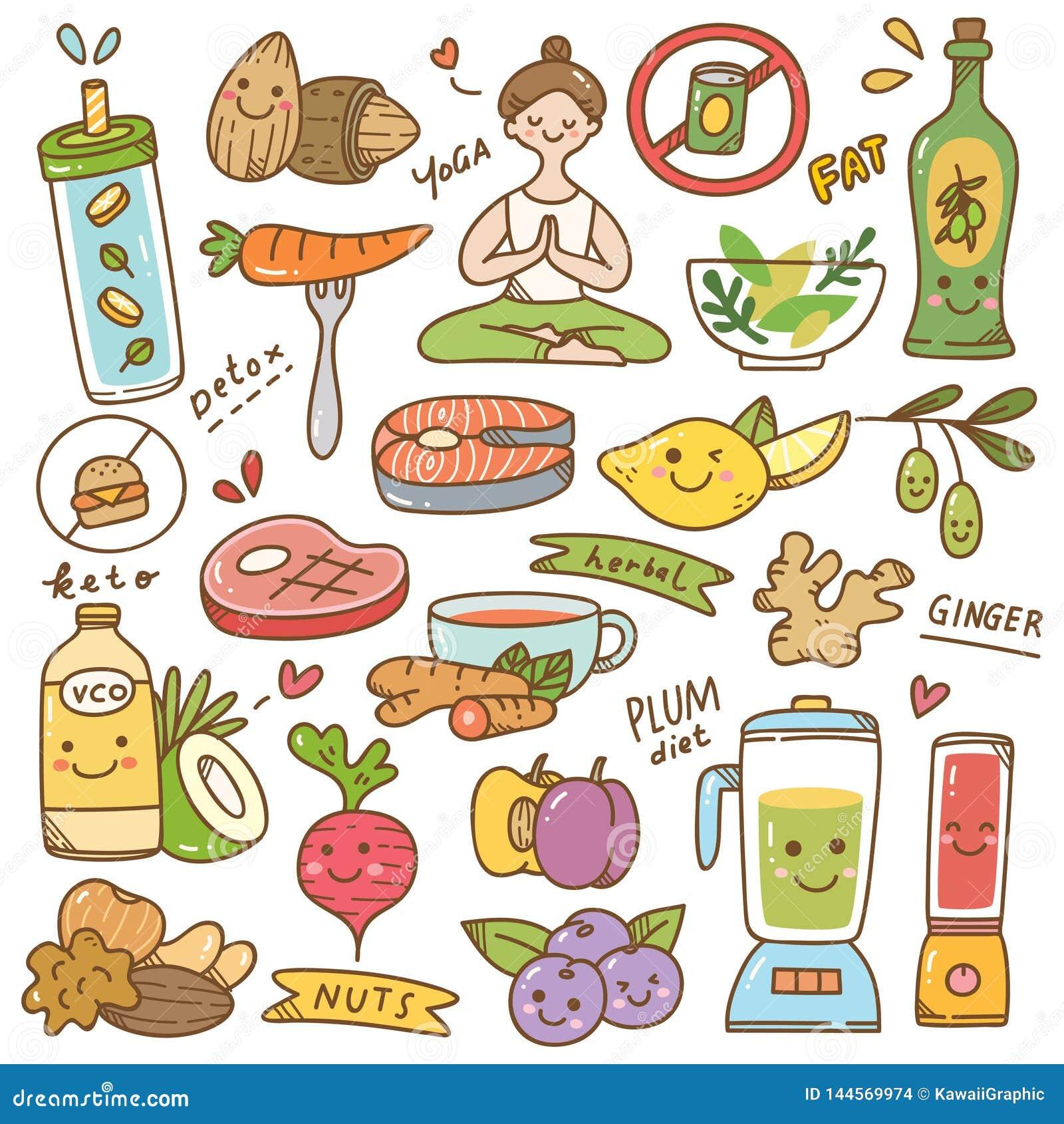 Σύνολο kawaii διατροφής doodle